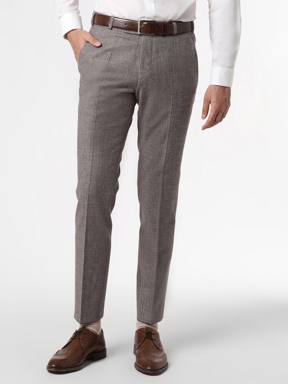 Wilvorst - Męskie spodnie od garnituru modułowego z dodatkiem lnu, brązowy