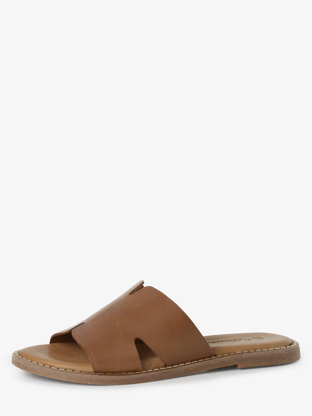 Tamaris - Sandały damskie ze skóry, beżowy