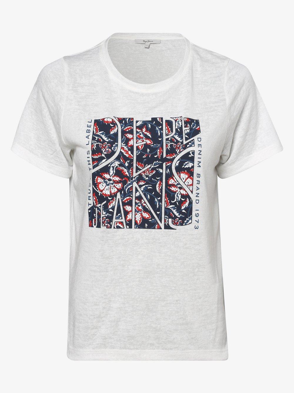 Pepe Jeans - T-shirt damski – Brooklyn, beżowy