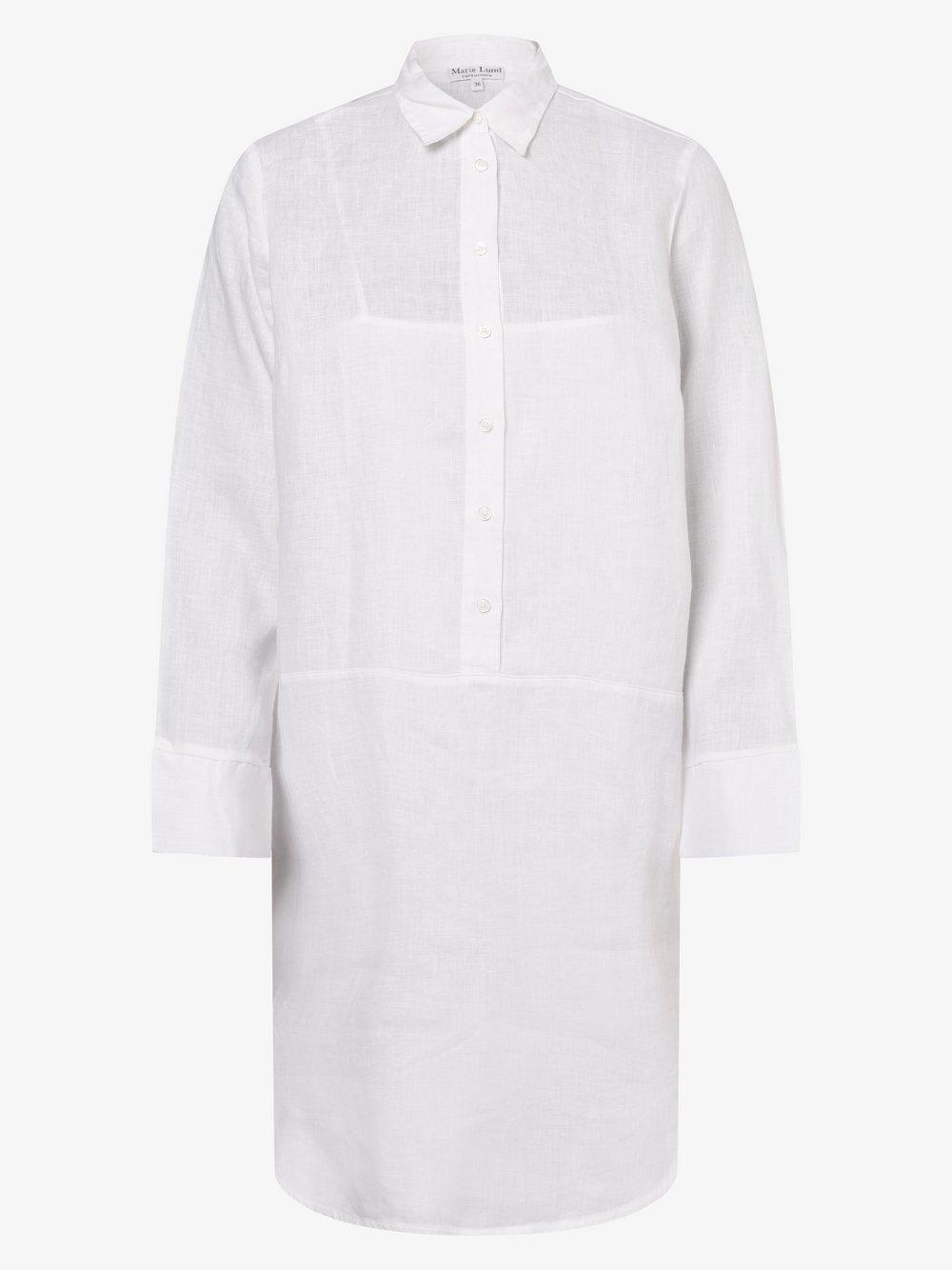 Marie Lund - Damska sukienka lniana, biały