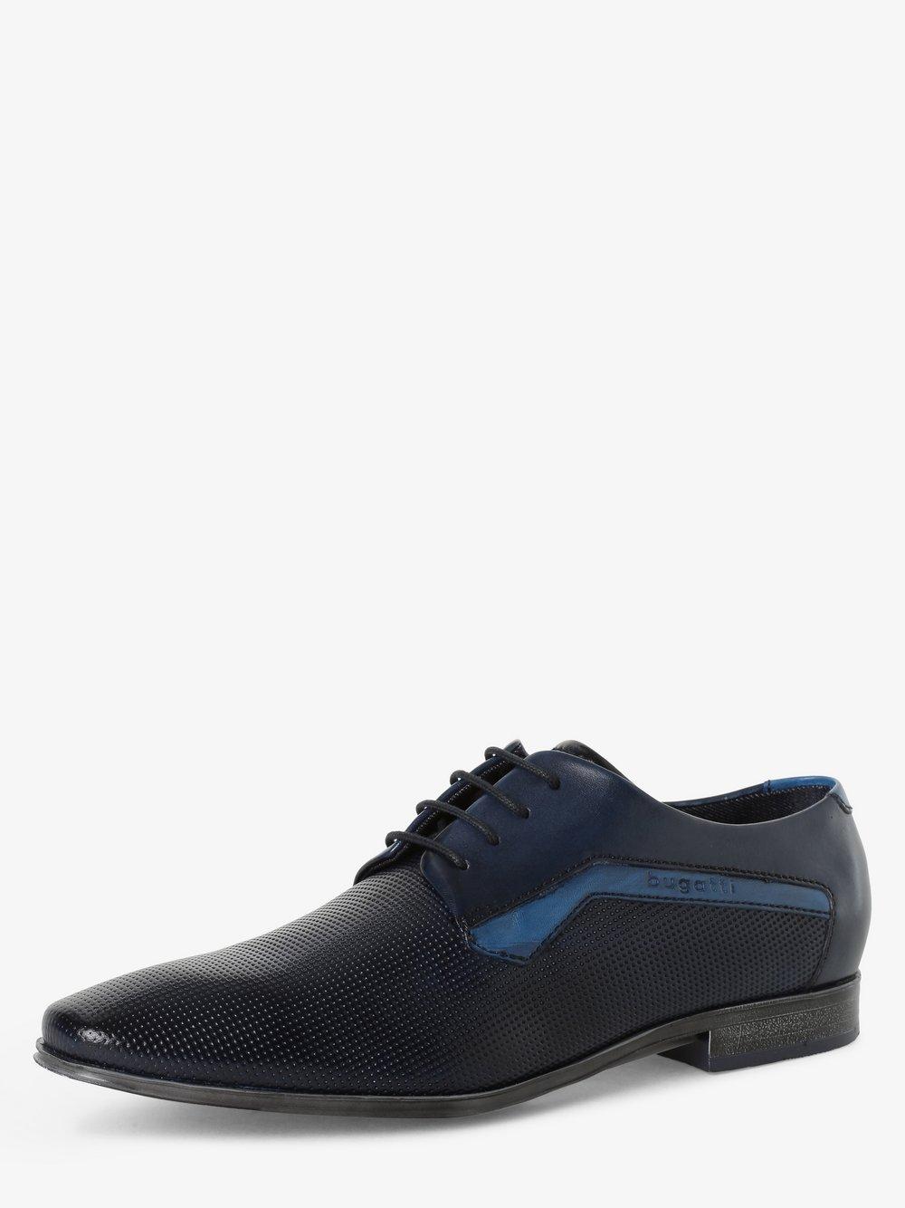 Bugatti - Męskie buty sznurowane ze skóry, niebieski