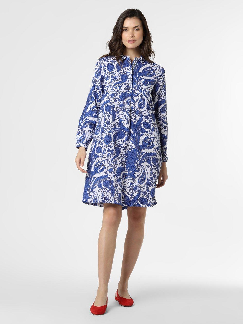 Emily van den Bergh - Damska sukienka lniana, niebieski