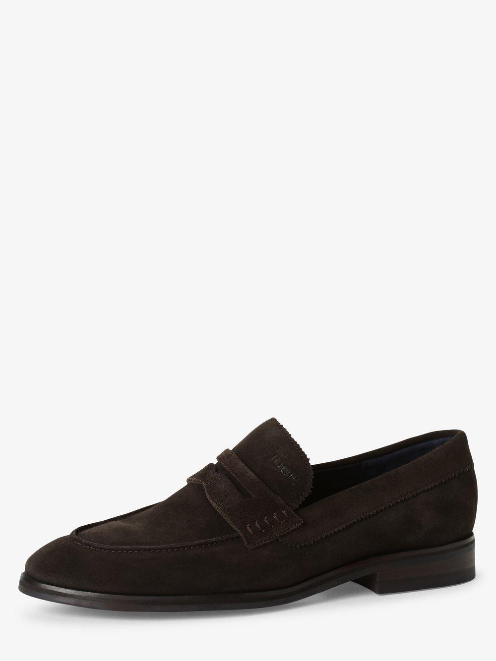 Joop - Skórzane loafersy męskie – Velluto, niebieski
