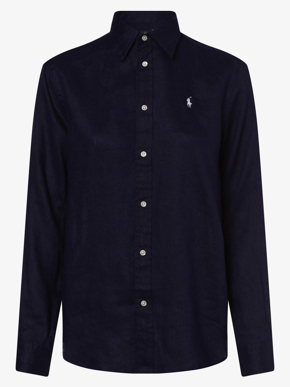 Polo Ralph Lauren - Damska bluzka lniana – Relaxed Fit, niebieski