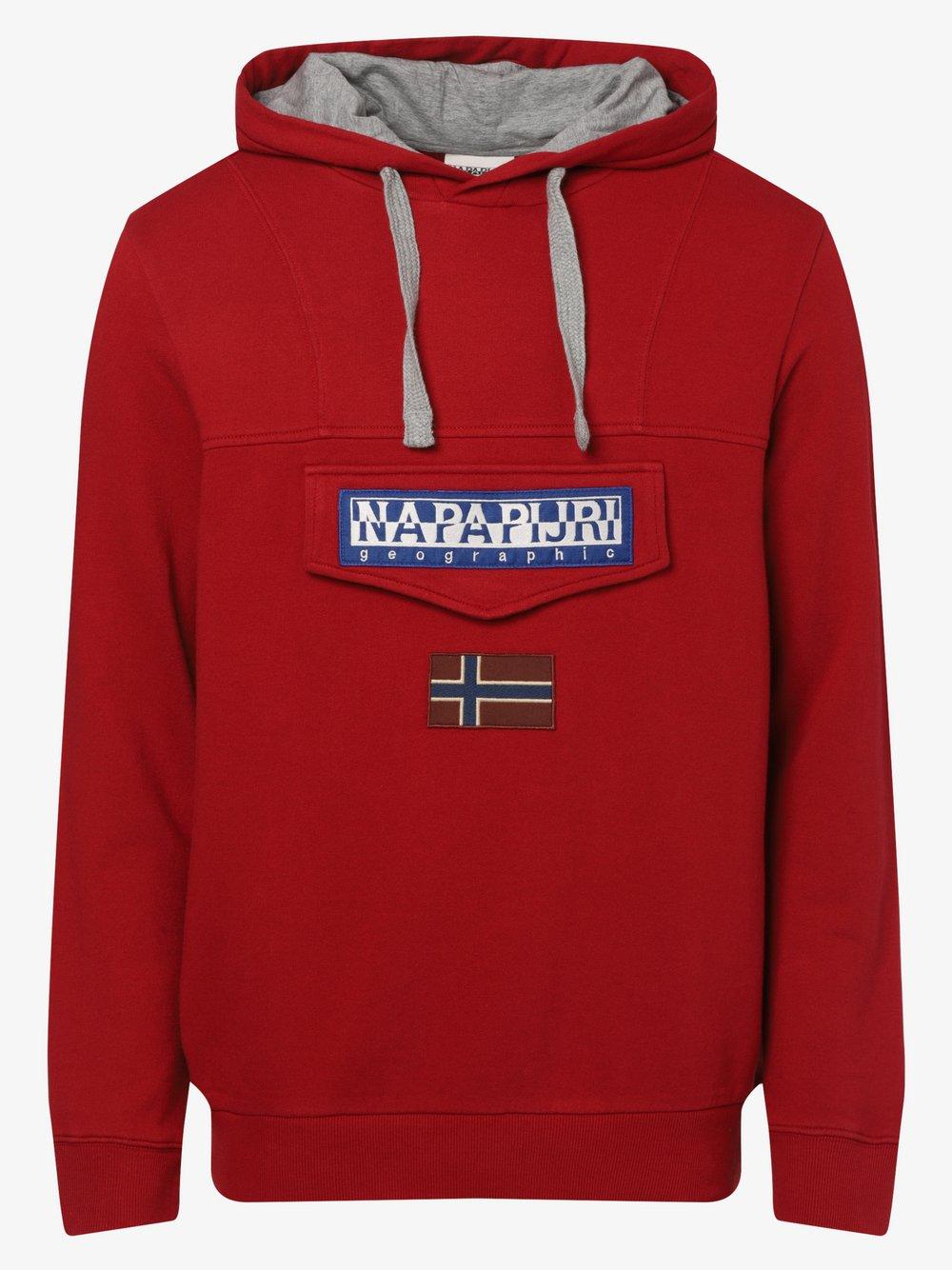 Napapijri - Męska bluza z kapturem – Burgee, czerwony