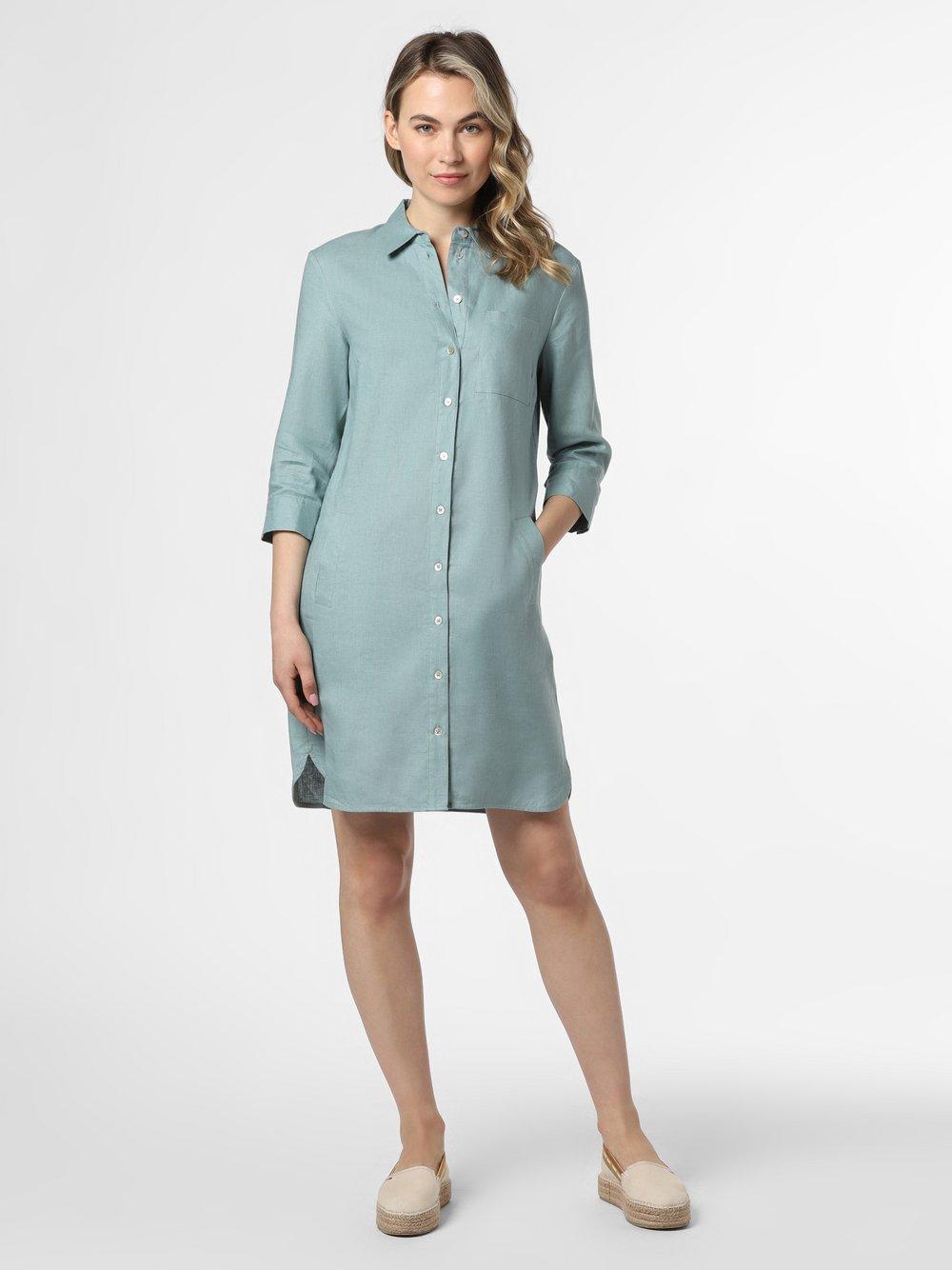 Apriori - Damska sukienka lniana, niebieski