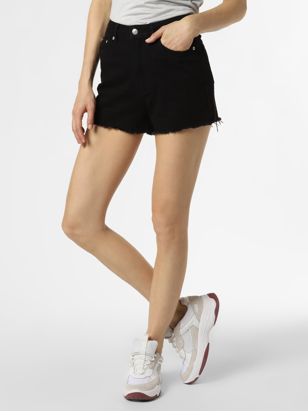 NA-KD - Damskie krótkie spodenki jeansowe, czarny