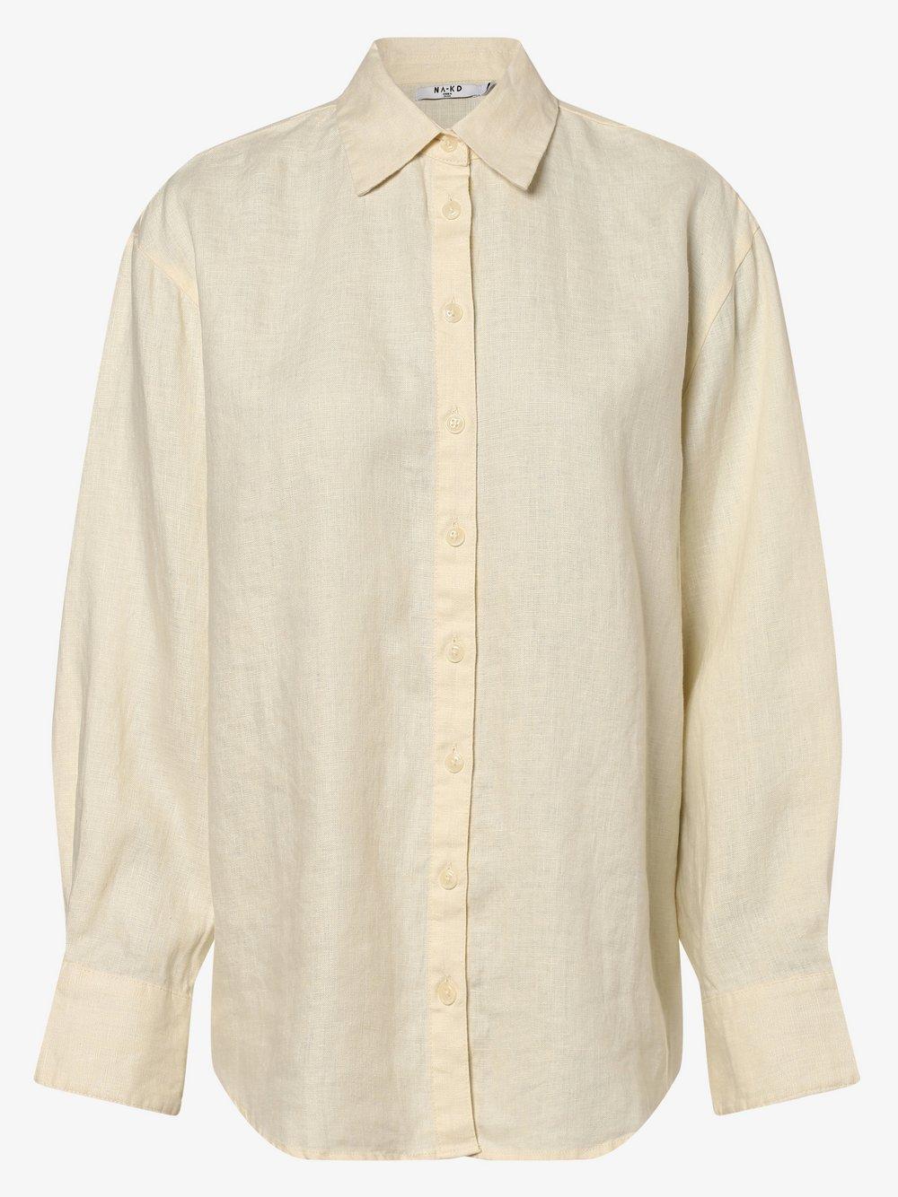 NA-KD - Damska bluzka lniana, beżowy