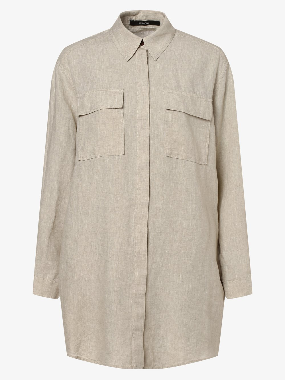 Someday - Damska bluzka lniana – Neline, beżowy