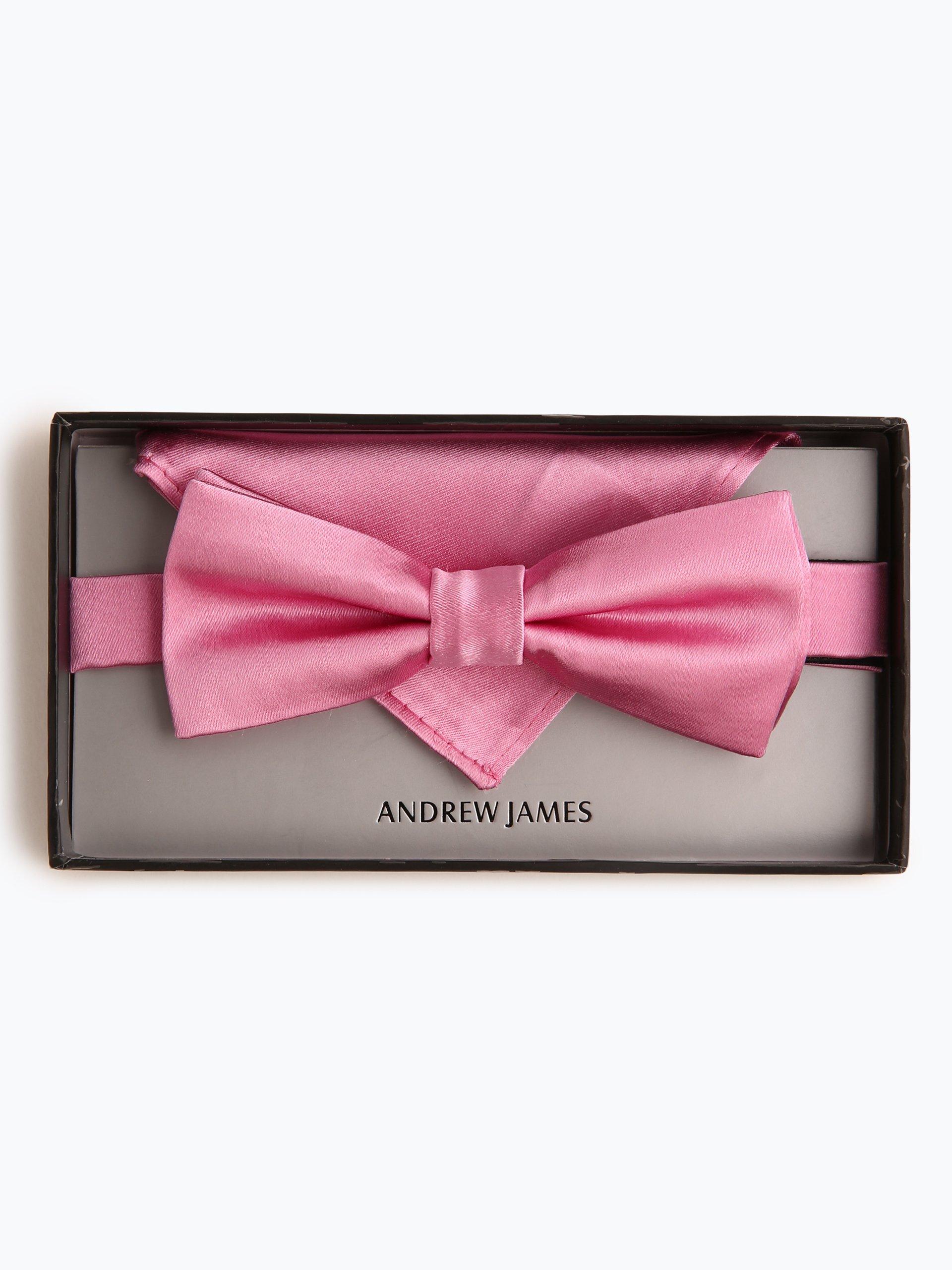 andrew james herren fliege und einstecktuch aus seide rosa. Black Bedroom Furniture Sets. Home Design Ideas