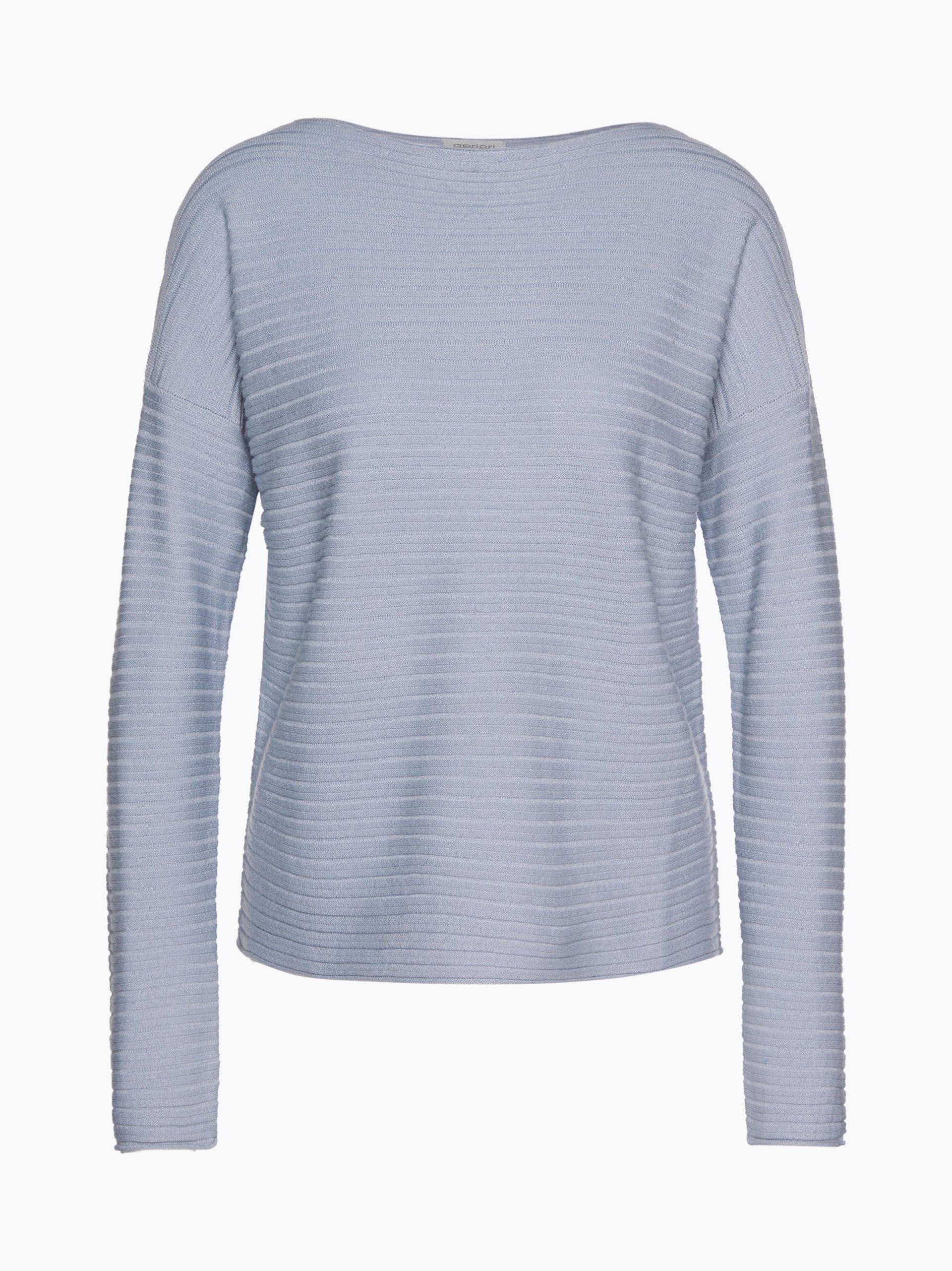 apriori damen pullover aus cashmere merino mix blau uni. Black Bedroom Furniture Sets. Home Design Ideas