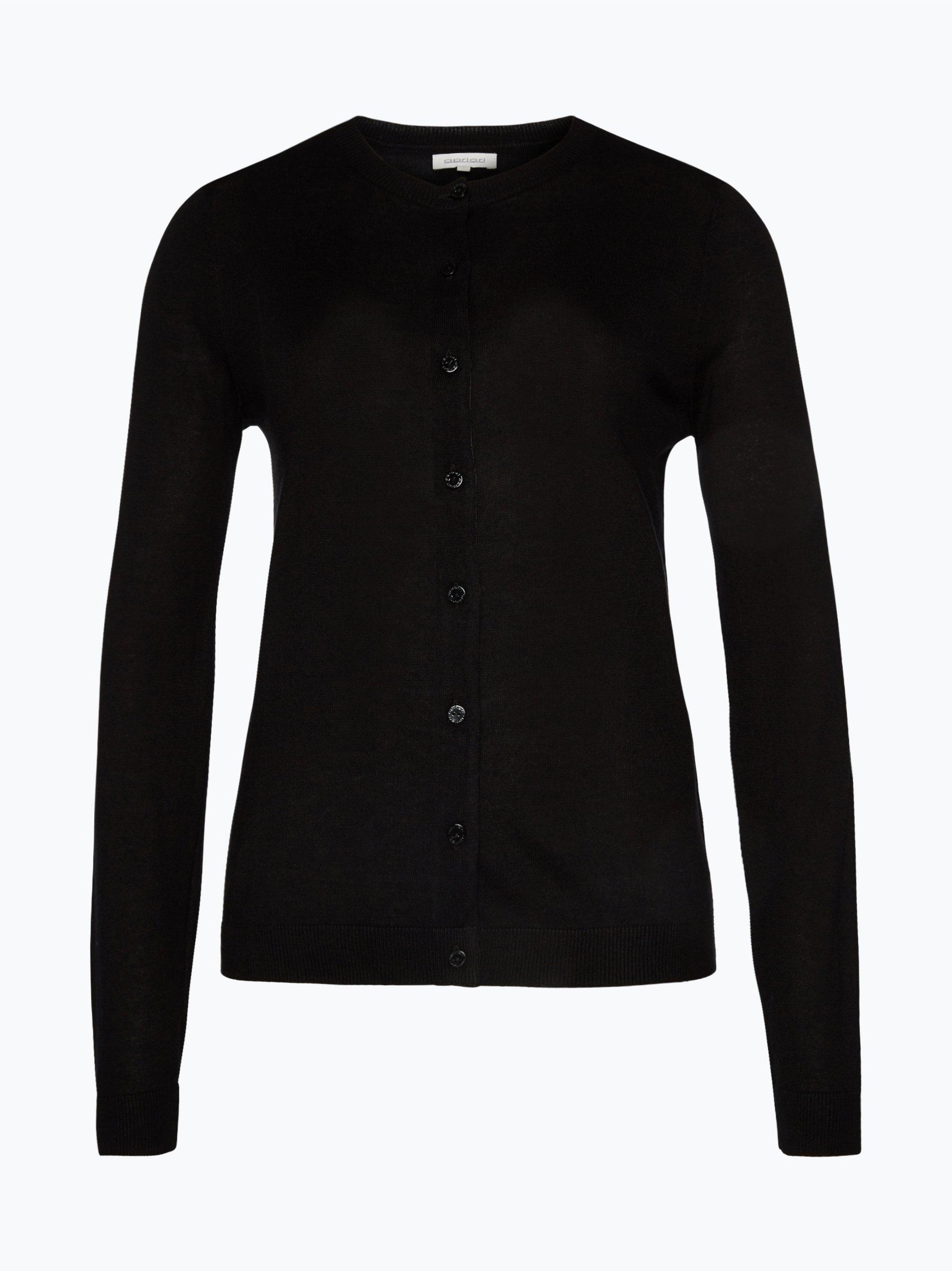 apriori damen strickjacke aus seiden cashmere mix schwarz uni online kaufen peek und. Black Bedroom Furniture Sets. Home Design Ideas