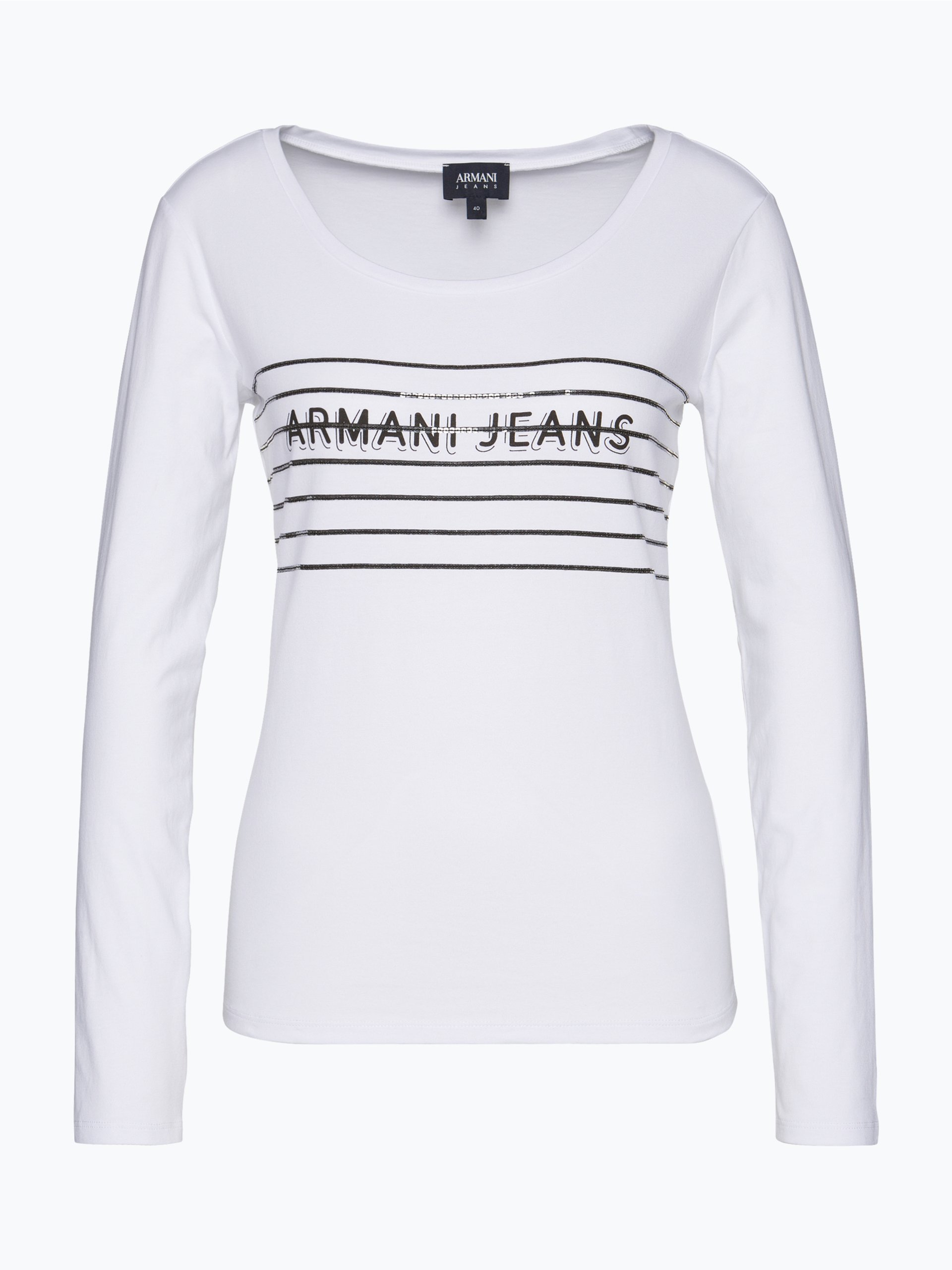 armani jeans damen langarmshirt wei gemustert online. Black Bedroom Furniture Sets. Home Design Ideas