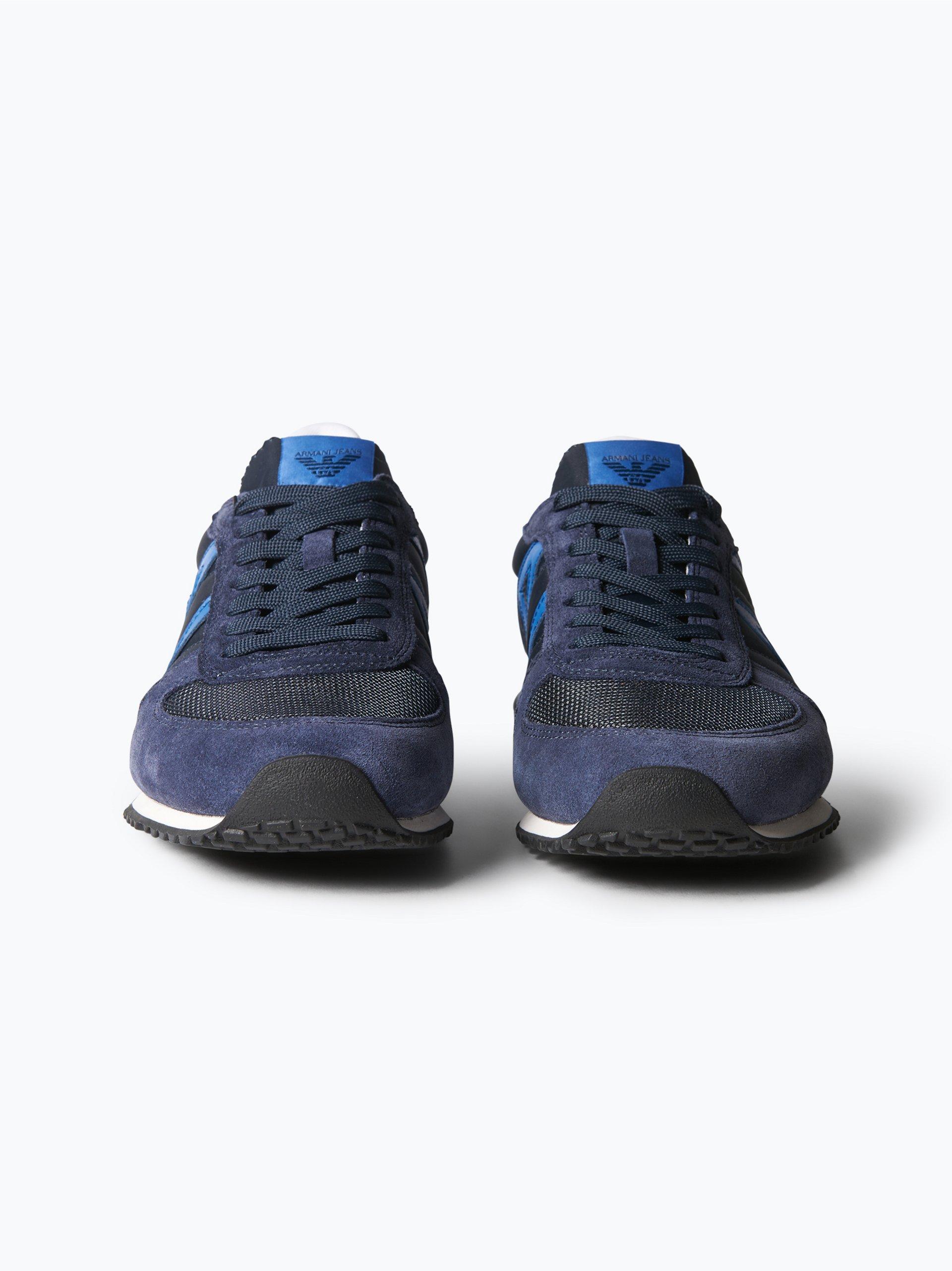 armani jeans herren sneaker mit leder besatz blau uni. Black Bedroom Furniture Sets. Home Design Ideas