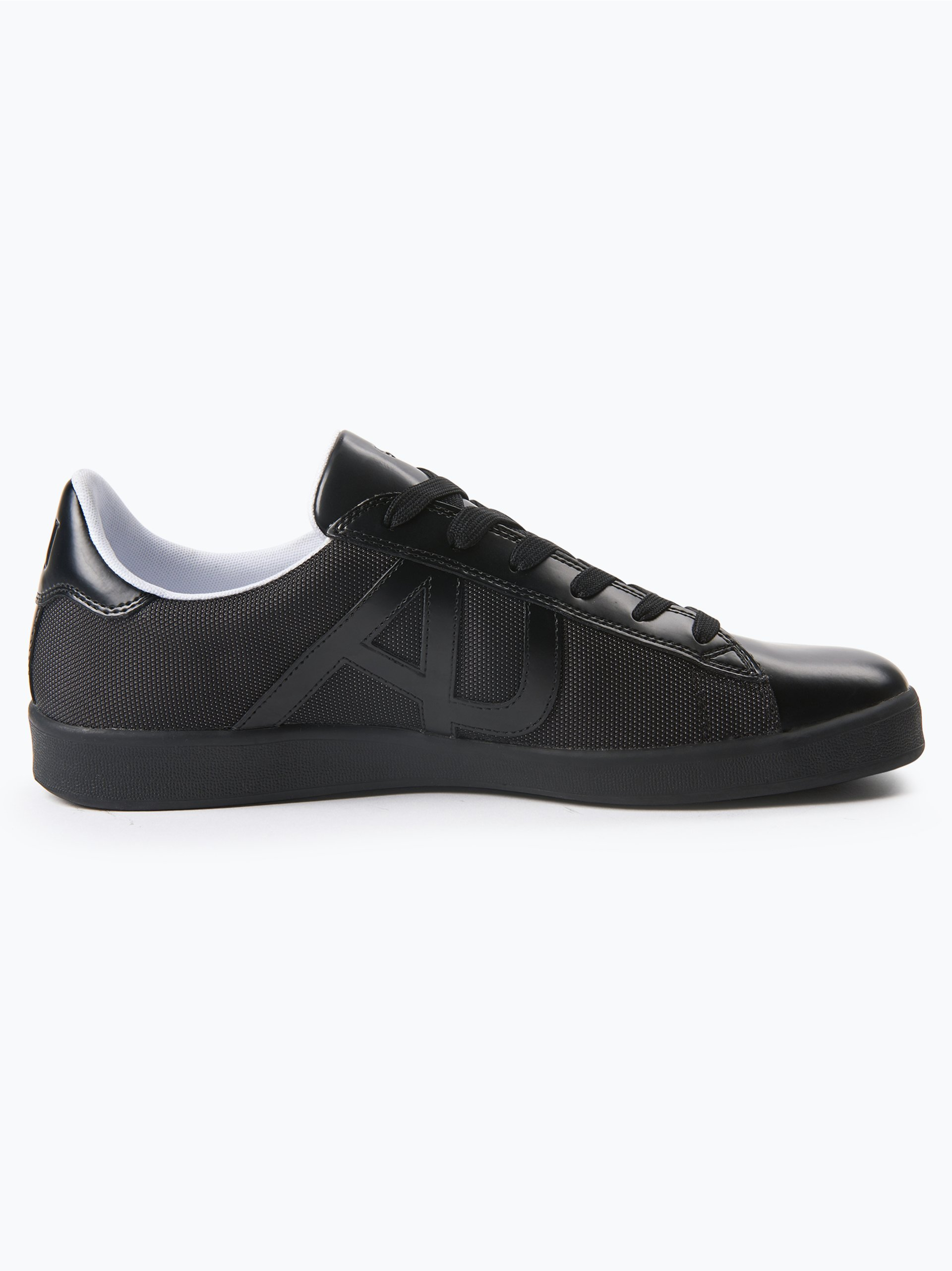 armani jeans herren sneaker mit leder besatz schwarz uni online kaufen vangraaf com. Black Bedroom Furniture Sets. Home Design Ideas