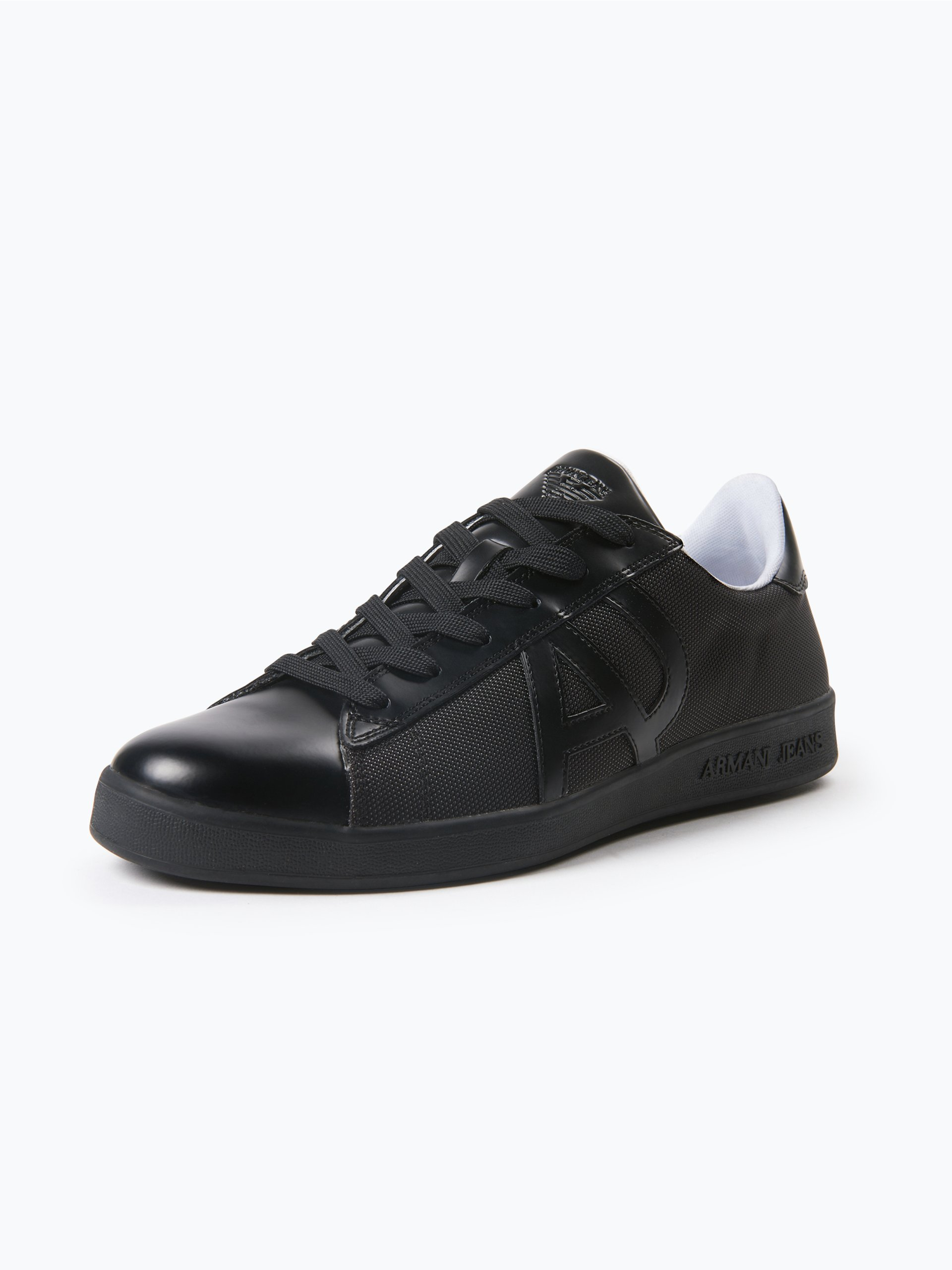 armani jeans herren sneaker mit leder besatz schwarz uni online kaufen peek und cloppenburg de. Black Bedroom Furniture Sets. Home Design Ideas