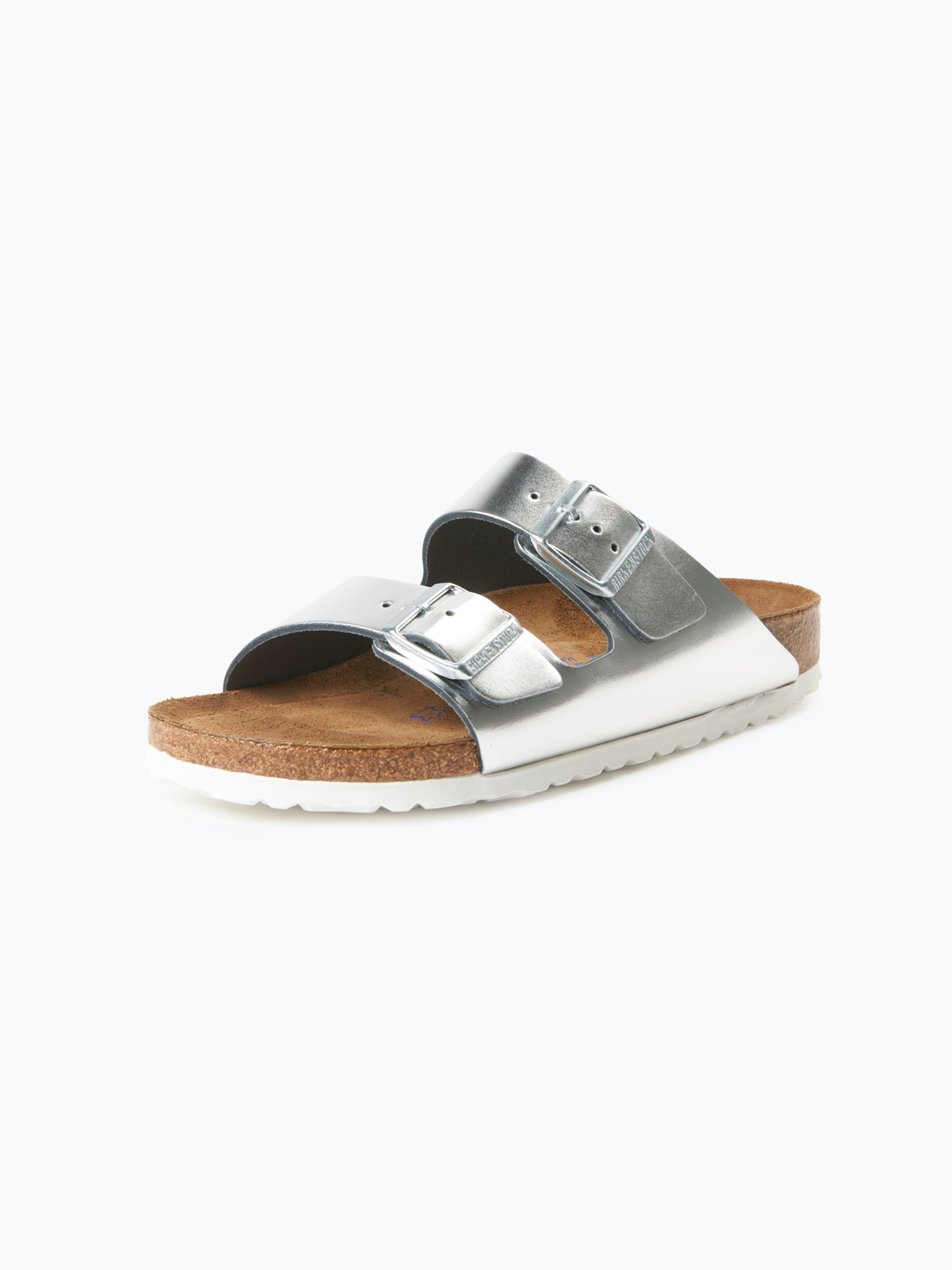 birkenstock damen sandalen aus leder silber uni online kaufen vangraaf com. Black Bedroom Furniture Sets. Home Design Ideas