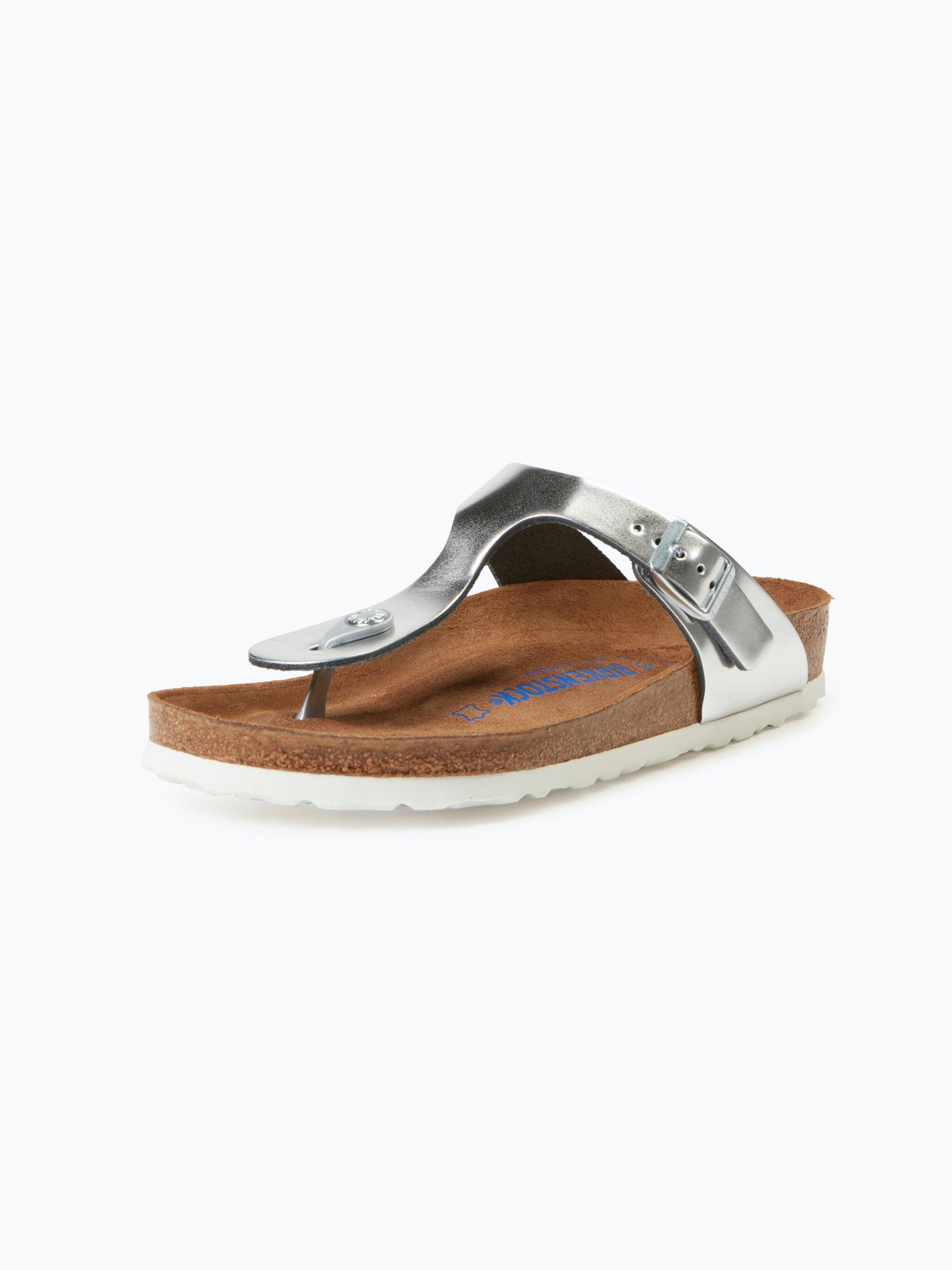 birkenstock damen sandalen aus leder silber uni online. Black Bedroom Furniture Sets. Home Design Ideas