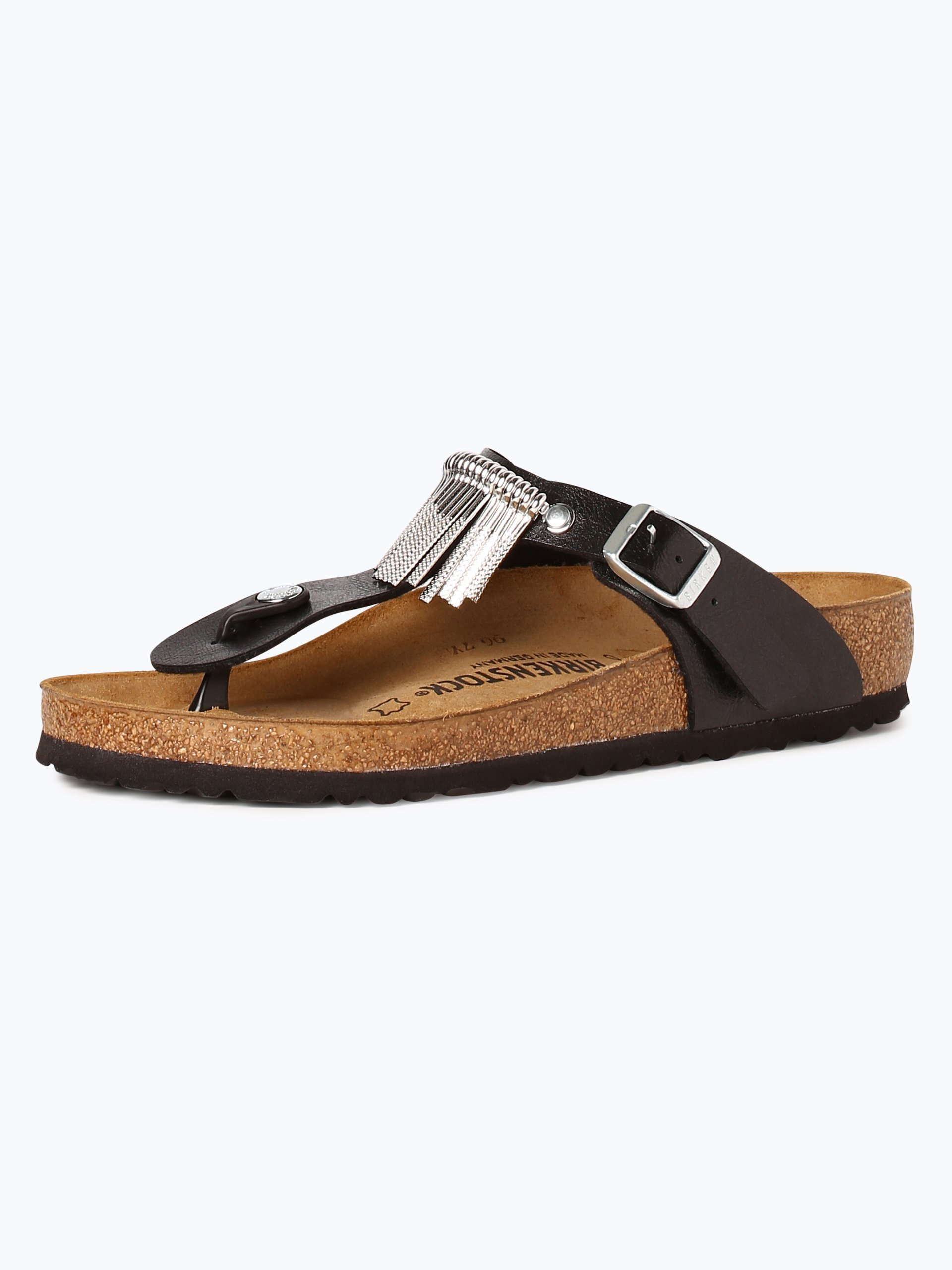 birkenstock damen sandalen mit leder anteil gizeh fringe schwarz silber uni online kaufen. Black Bedroom Furniture Sets. Home Design Ideas