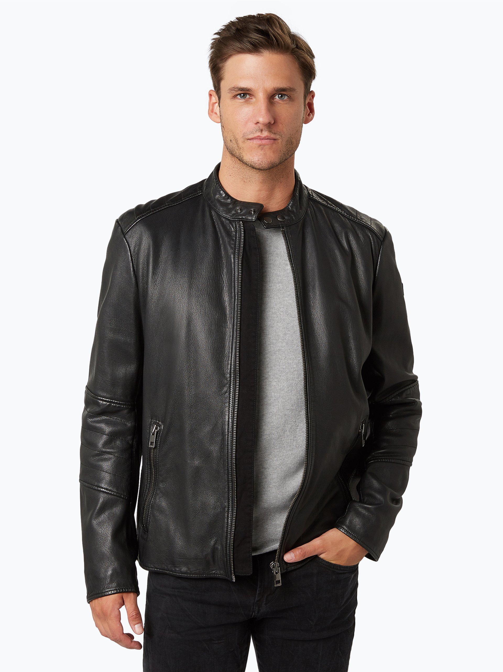 boss casual herren lederjacke jeeper schwarz uni online. Black Bedroom Furniture Sets. Home Design Ideas