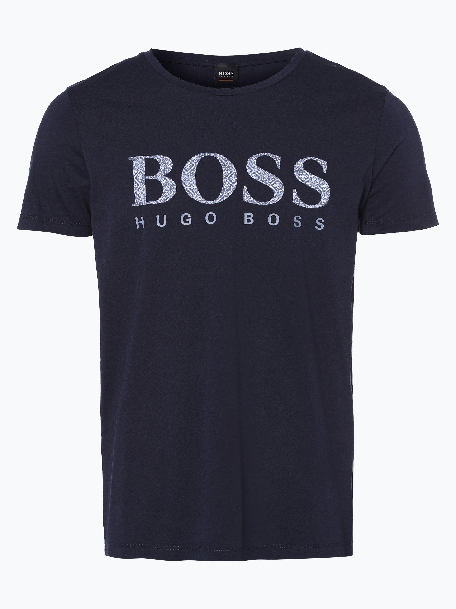 boss casual herren t shirt tew marine gemustert online. Black Bedroom Furniture Sets. Home Design Ideas