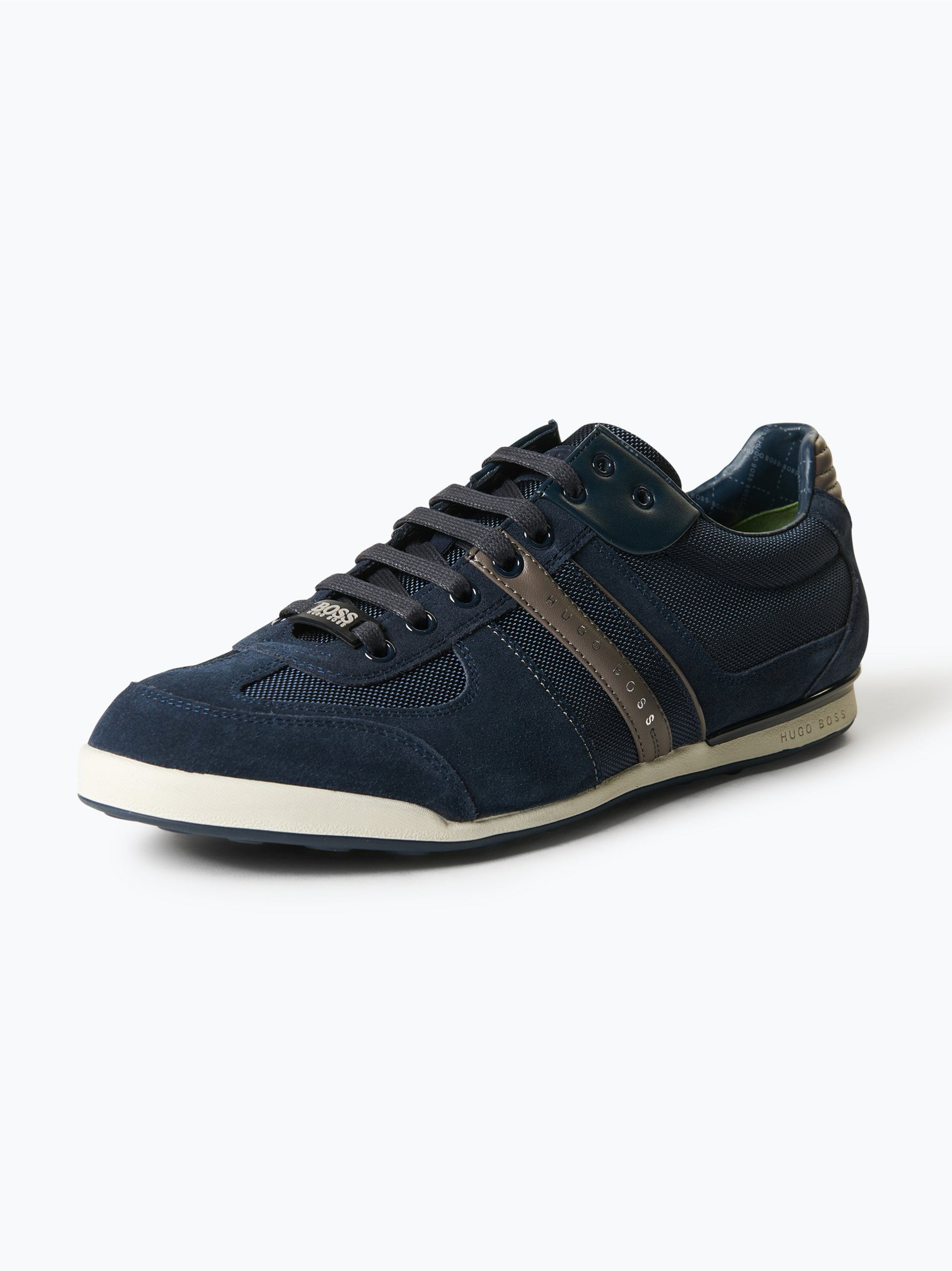 boss green herren sneaker mit leder anteil akeen blau. Black Bedroom Furniture Sets. Home Design Ideas