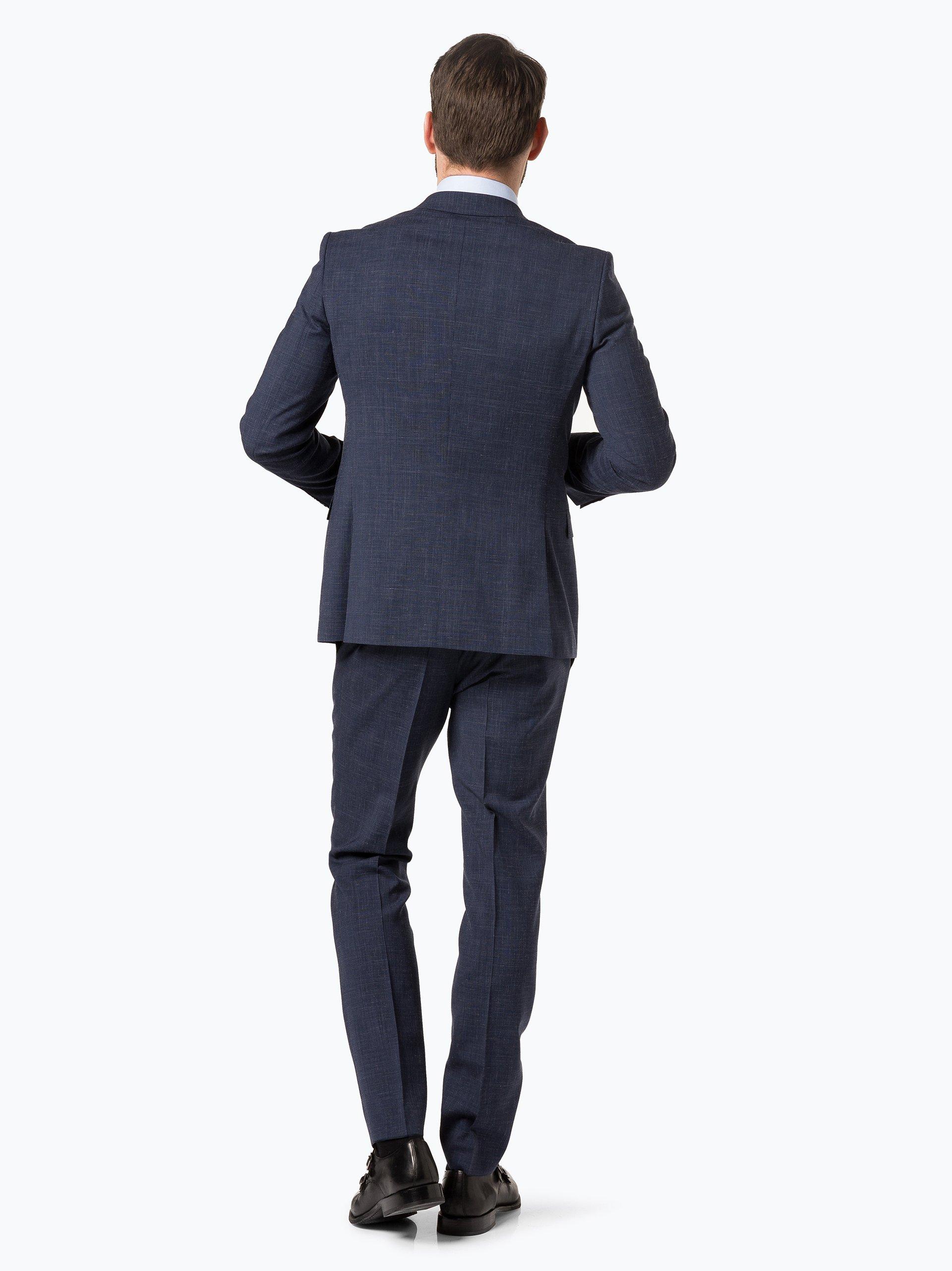boss herren anzug mit leinen anteil novan5 ben2 marine gemustert online kaufen vangraaf com. Black Bedroom Furniture Sets. Home Design Ideas