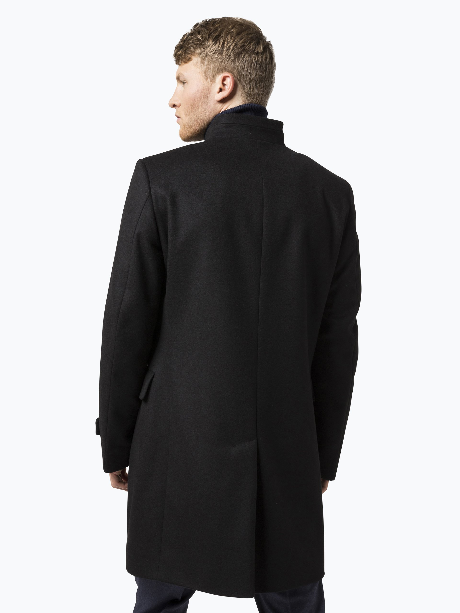 boss herren mantel mit cashmere anteil sintrax2 schwarz. Black Bedroom Furniture Sets. Home Design Ideas