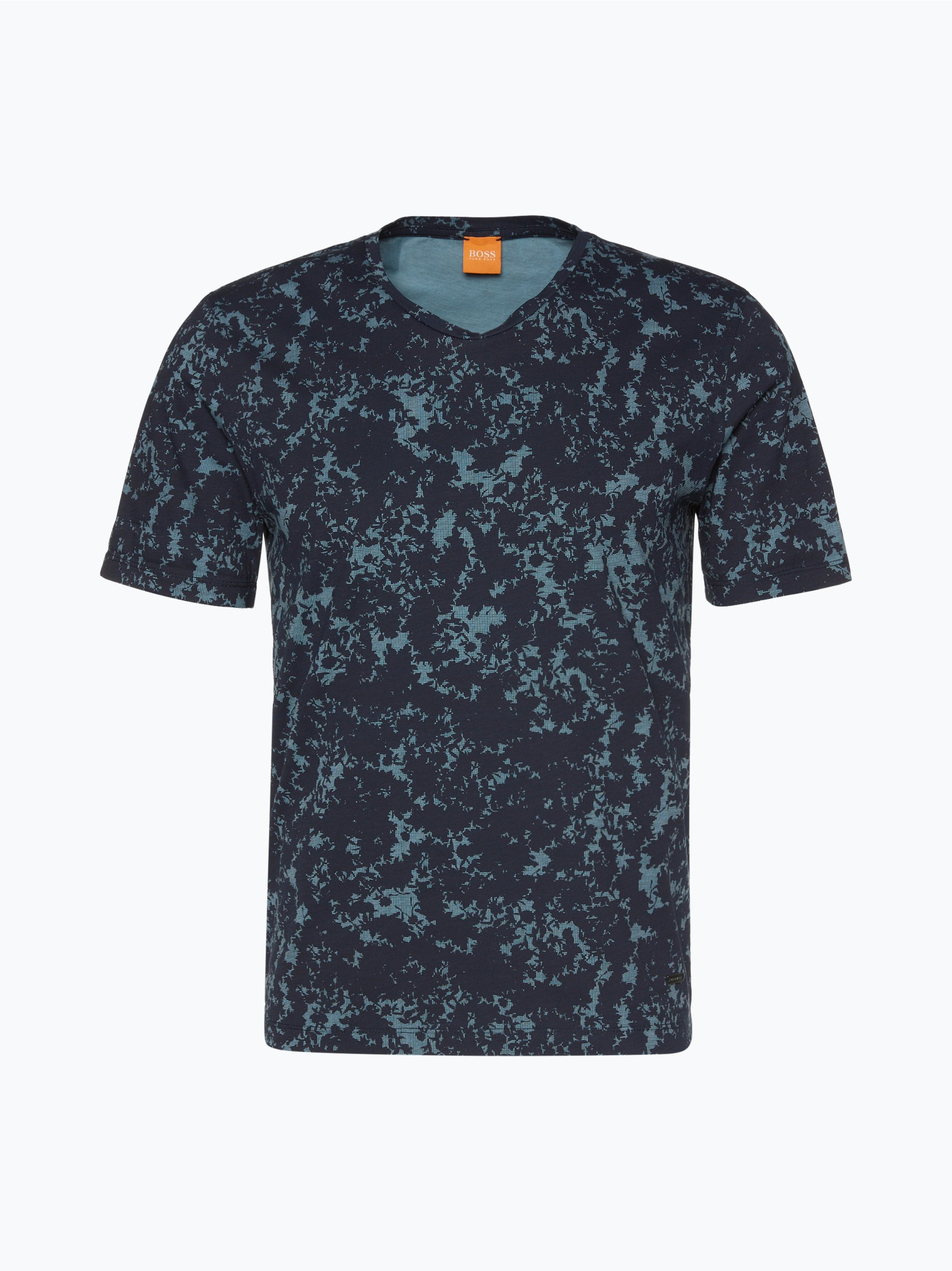 boss orange herren t shirt topmost marine gemustert. Black Bedroom Furniture Sets. Home Design Ideas