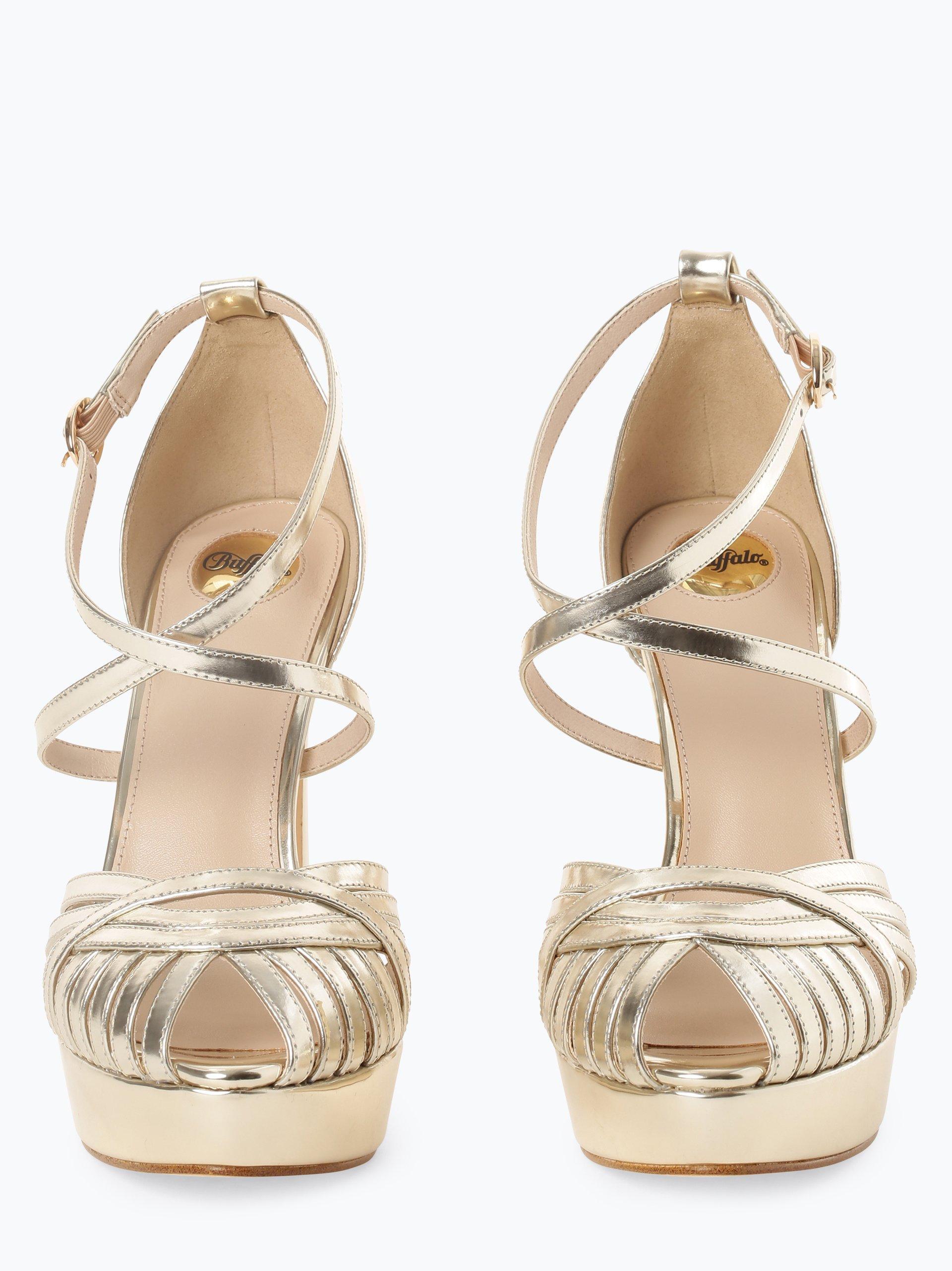 Buffalo Damskie skórzane sandały na obcasie – Marigold