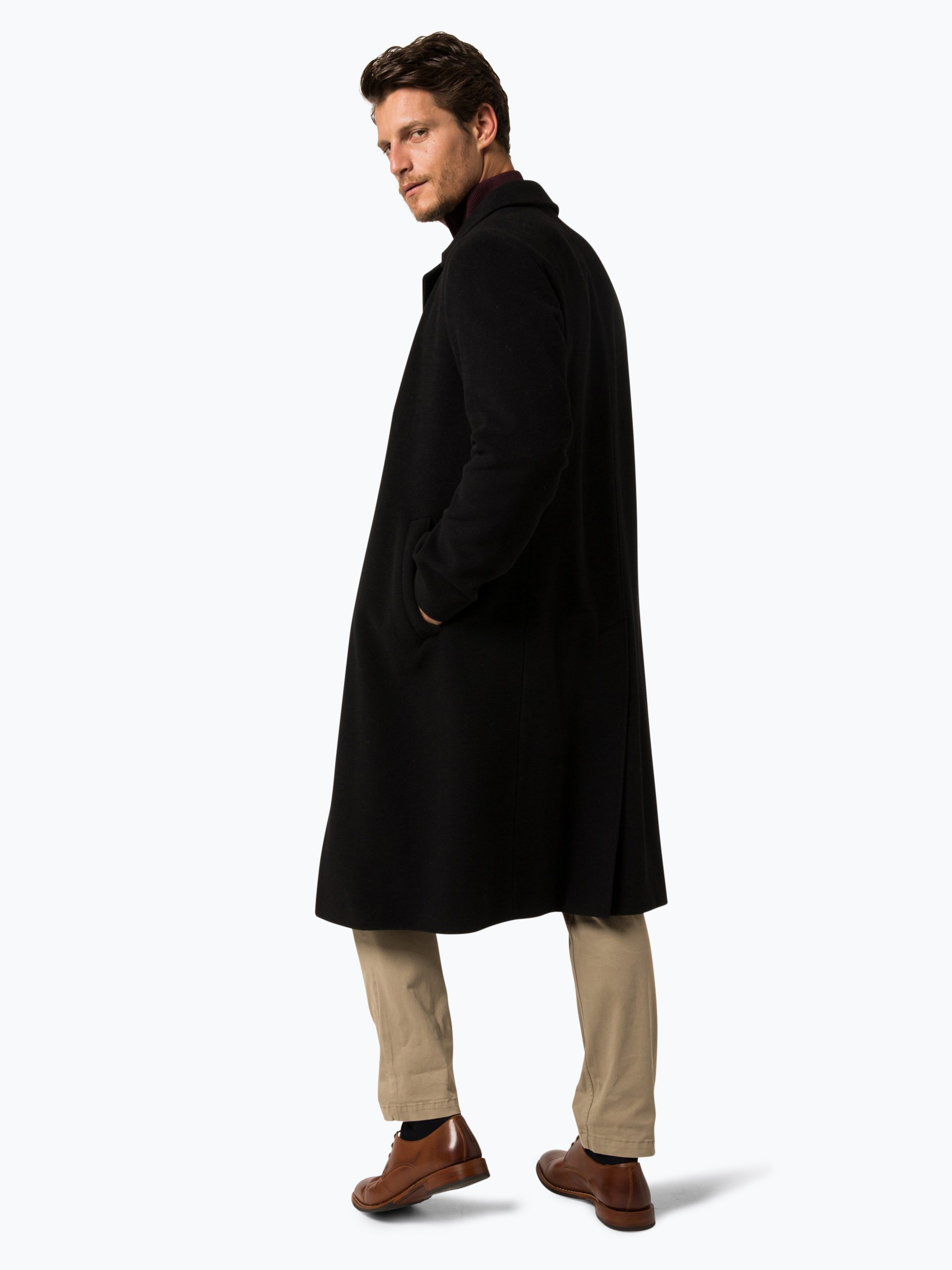 bugatti herren mantel mit cashmere anteil schwarz uni. Black Bedroom Furniture Sets. Home Design Ideas
