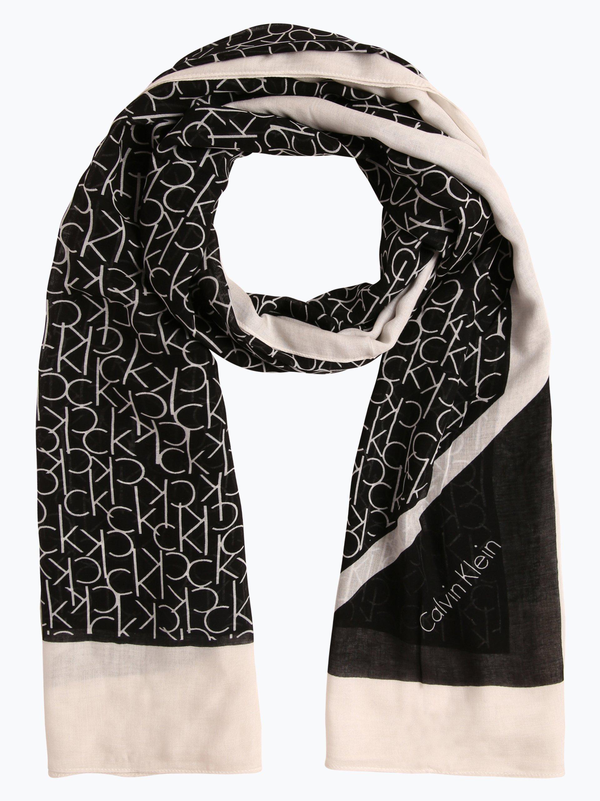 Calvin klein damen schal schwarz gemustert online kaufen for Schal binden damen