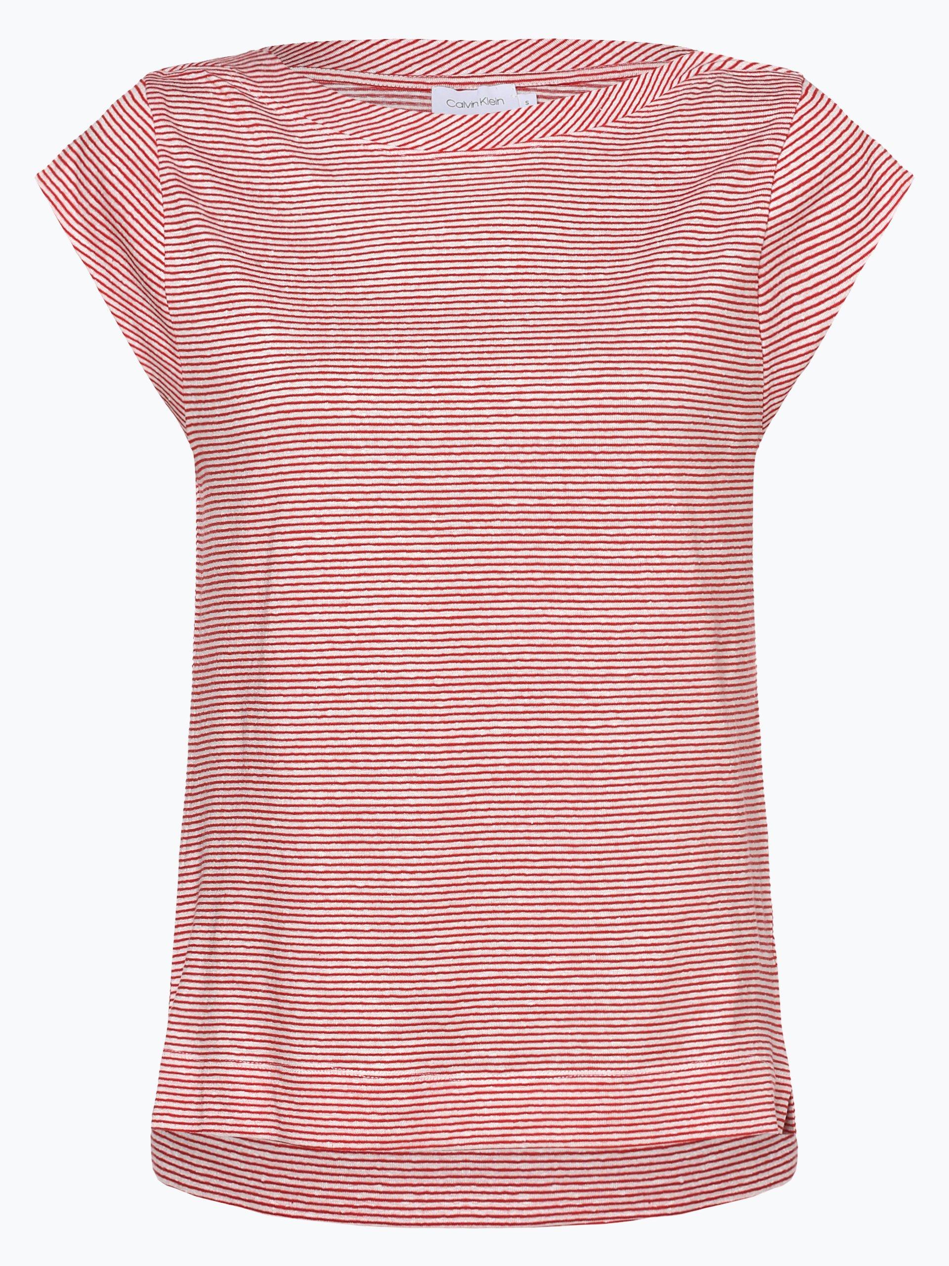 Calvin Klein Damen T-Shirt mit Leinen-Anteil