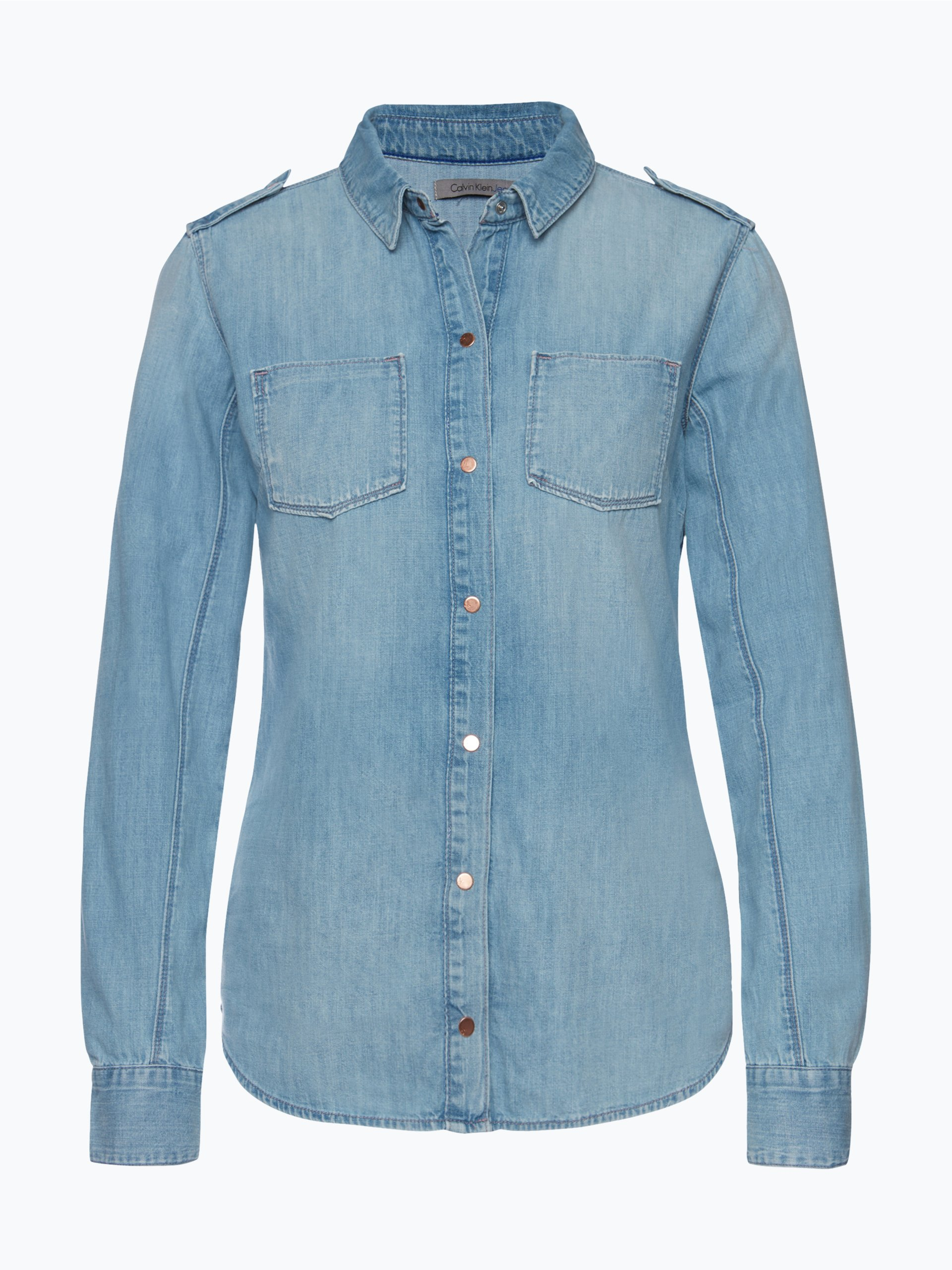 calvin klein jeans damen bluse grau uni online kaufen. Black Bedroom Furniture Sets. Home Design Ideas