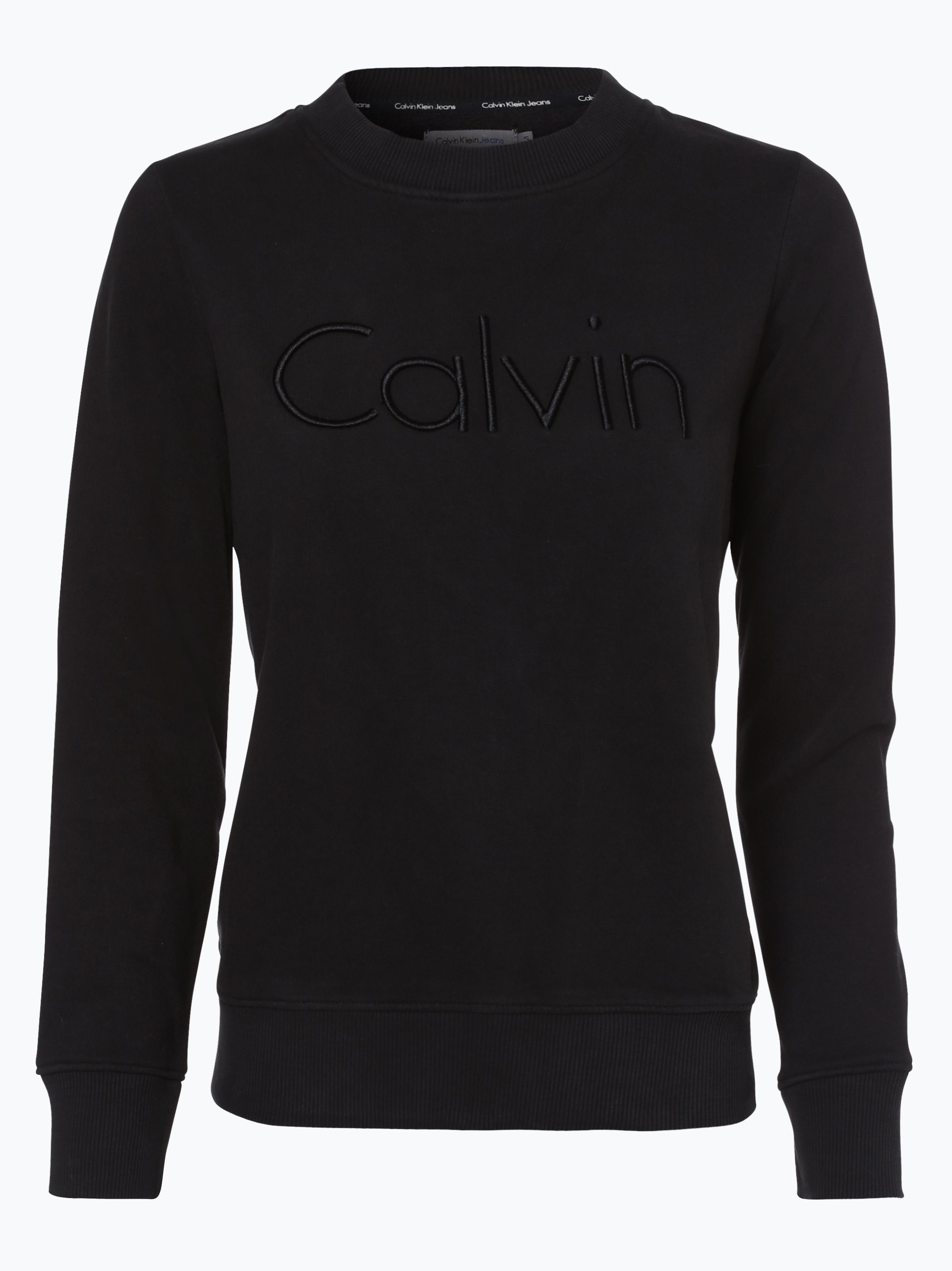 calvin klein jeans damen sweatshirt schwarz uni online. Black Bedroom Furniture Sets. Home Design Ideas