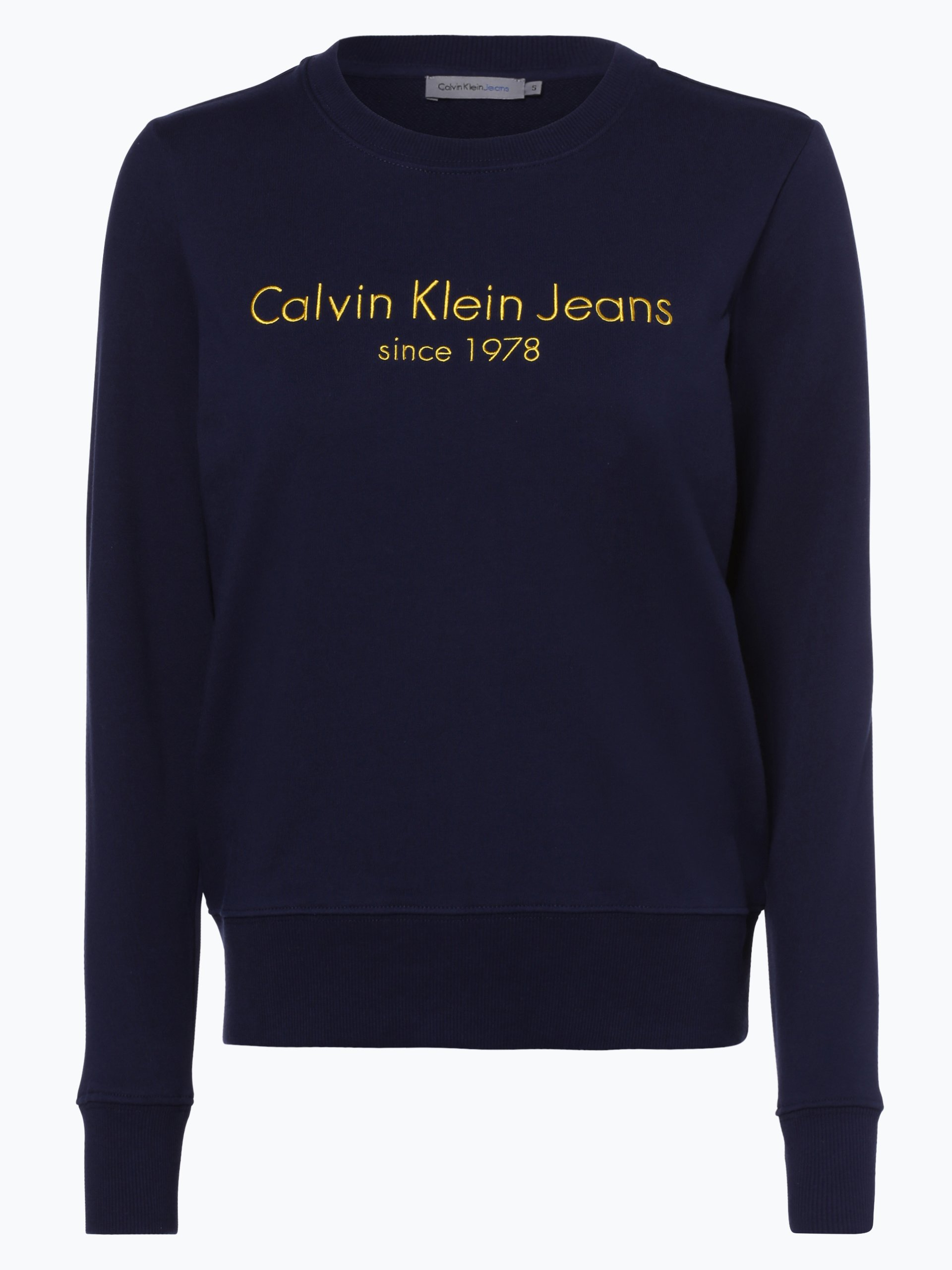 calvin klein jeans damen sweatshirt marine uni online. Black Bedroom Furniture Sets. Home Design Ideas
