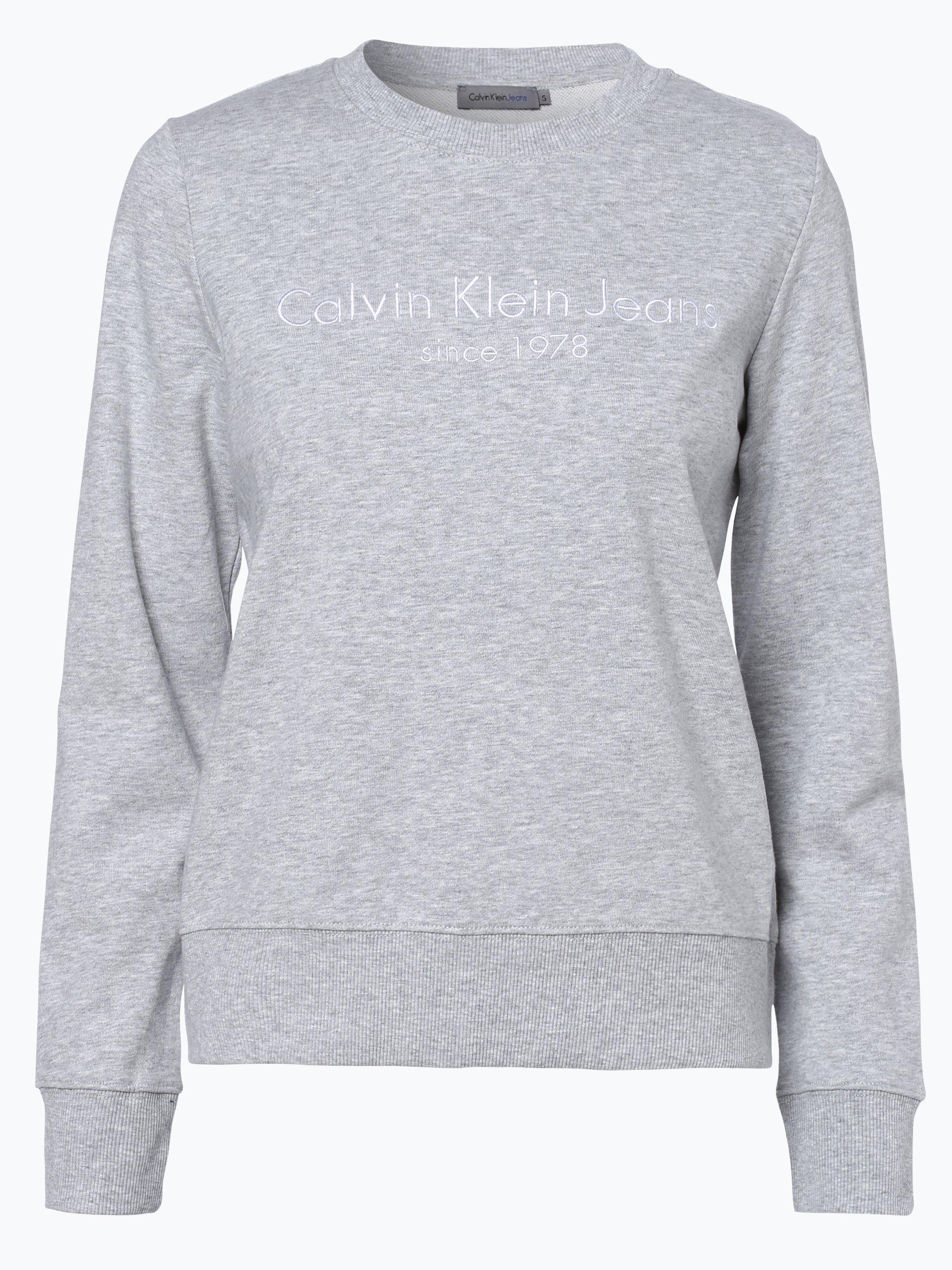 calvin klein jeans damen sweatshirt grau uni online kaufen. Black Bedroom Furniture Sets. Home Design Ideas