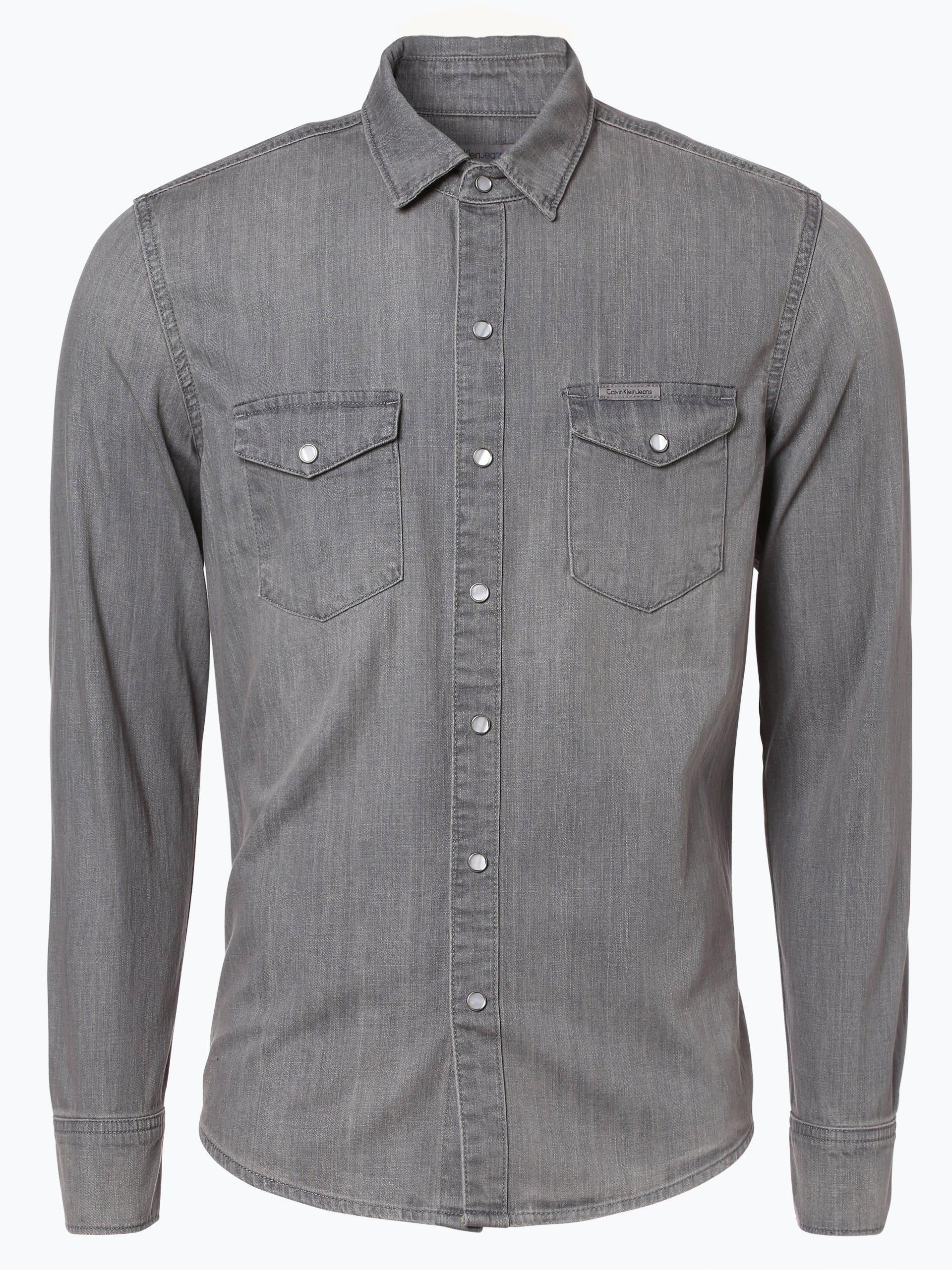 calvin klein jeans herren hemd grau uni online kaufen. Black Bedroom Furniture Sets. Home Design Ideas