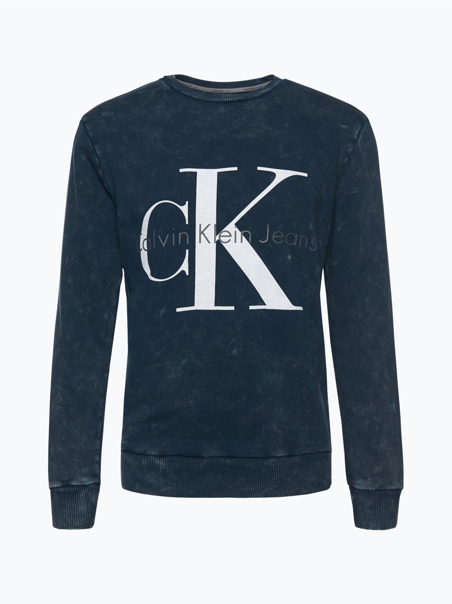 calvin klein jeans herren sweatshirt indigo bedruckt online kaufen vangraaf com. Black Bedroom Furniture Sets. Home Design Ideas