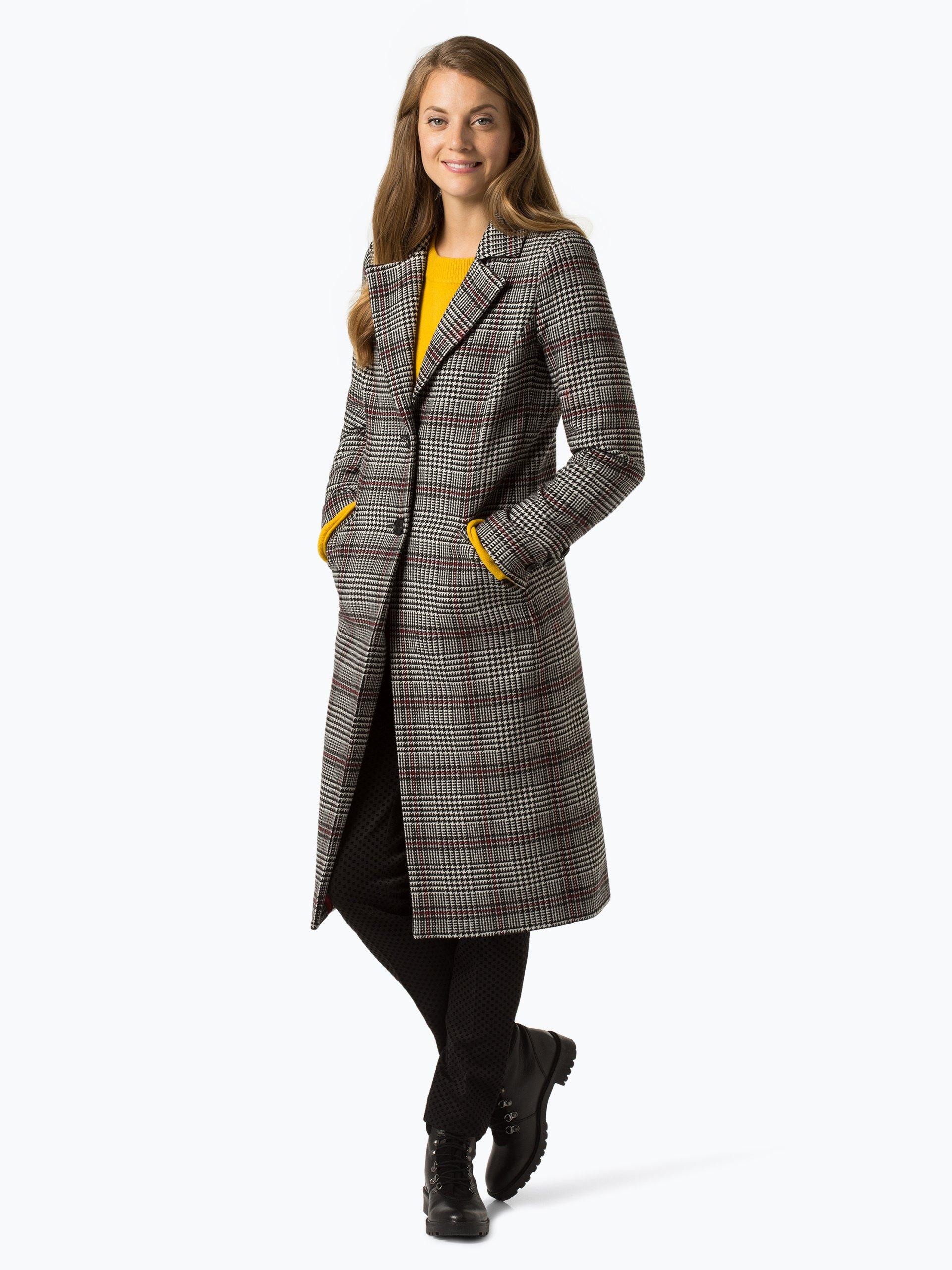 comma casual identity damen mantel mit cashmere anteil schwarz rot kariert online kaufen. Black Bedroom Furniture Sets. Home Design Ideas