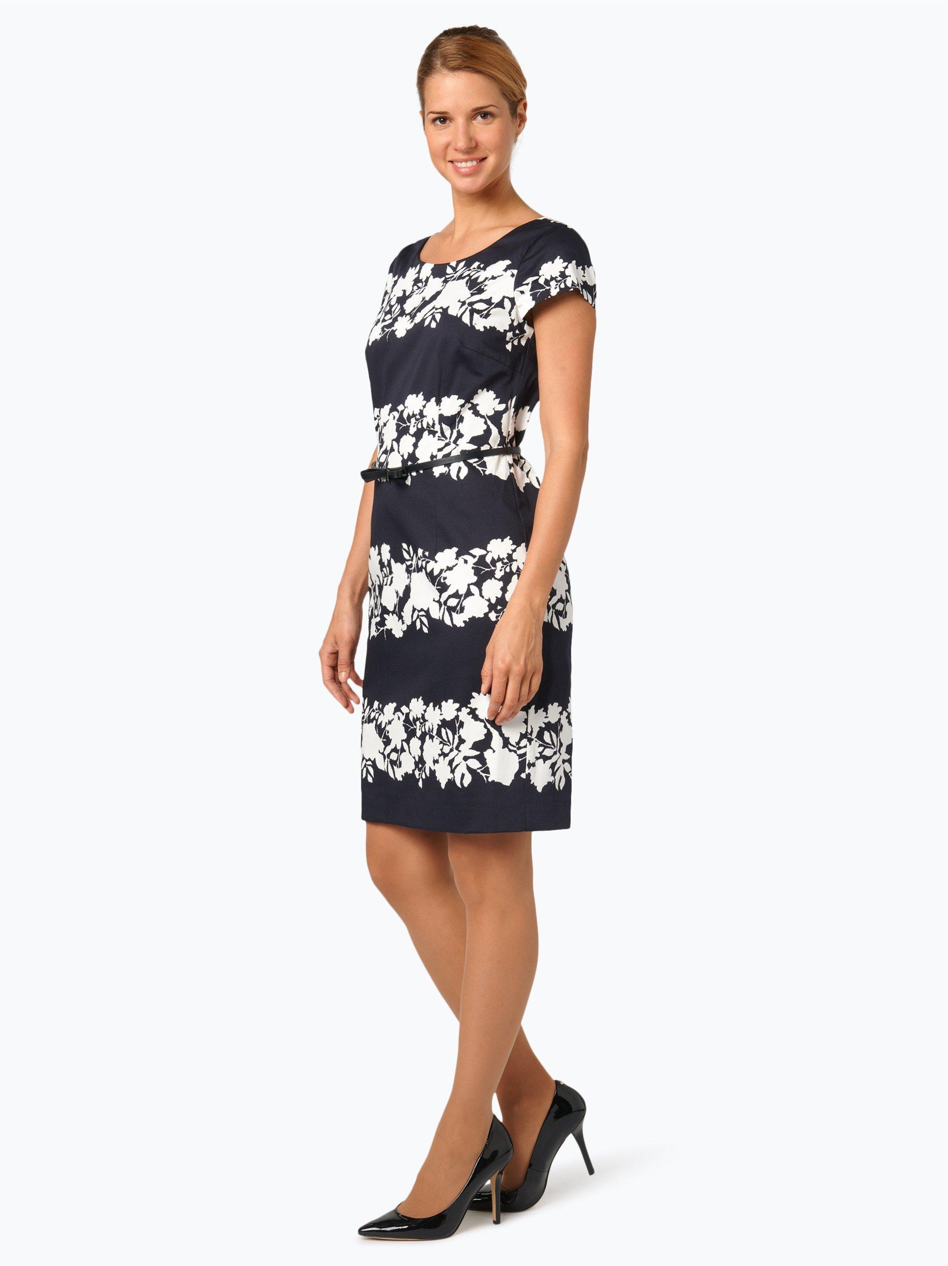 comma damen kleid wei gemustert online kaufen vangraaf com. Black Bedroom Furniture Sets. Home Design Ideas