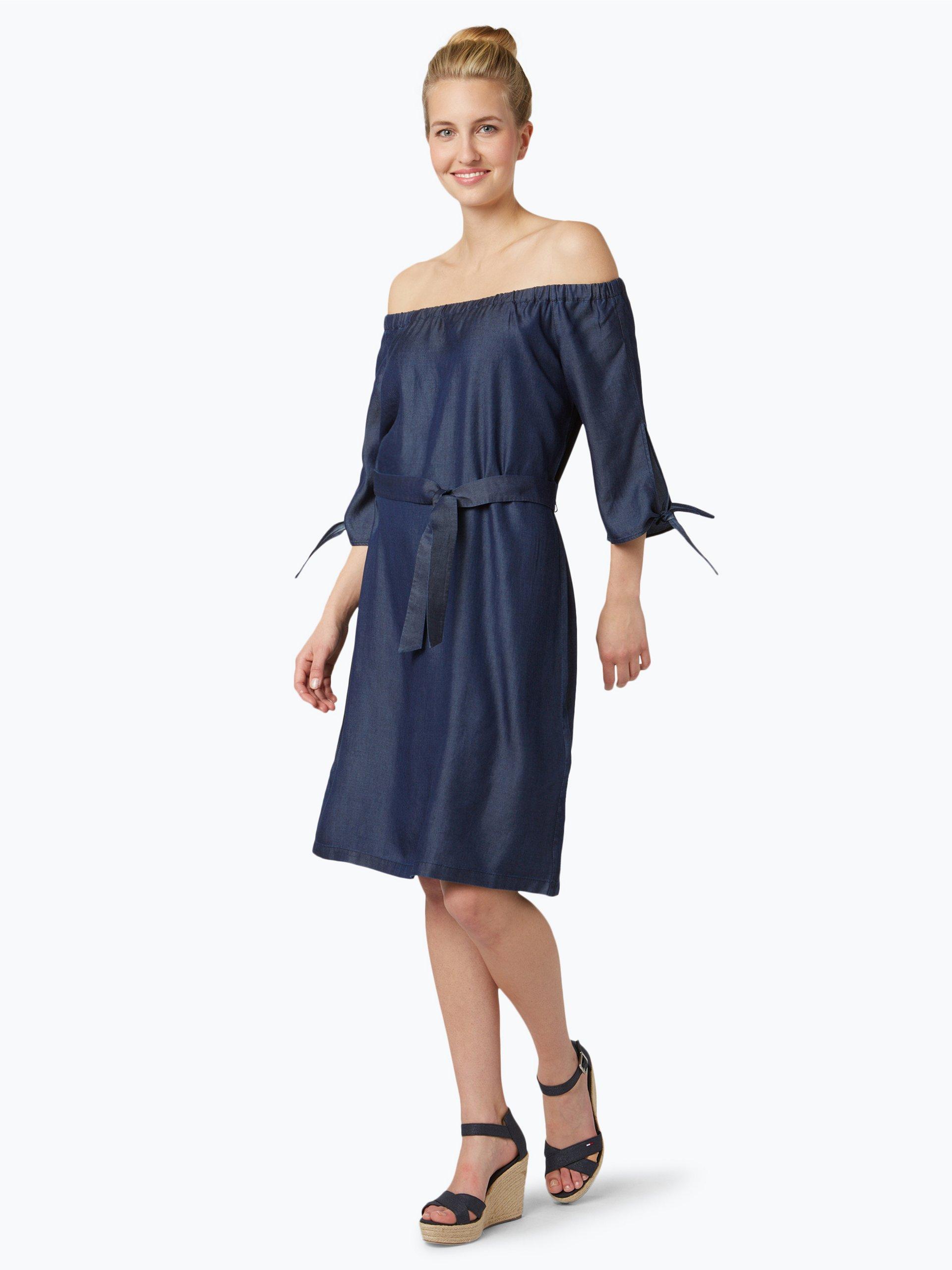 comma damen kleid blau wei uni online kaufen peek und. Black Bedroom Furniture Sets. Home Design Ideas