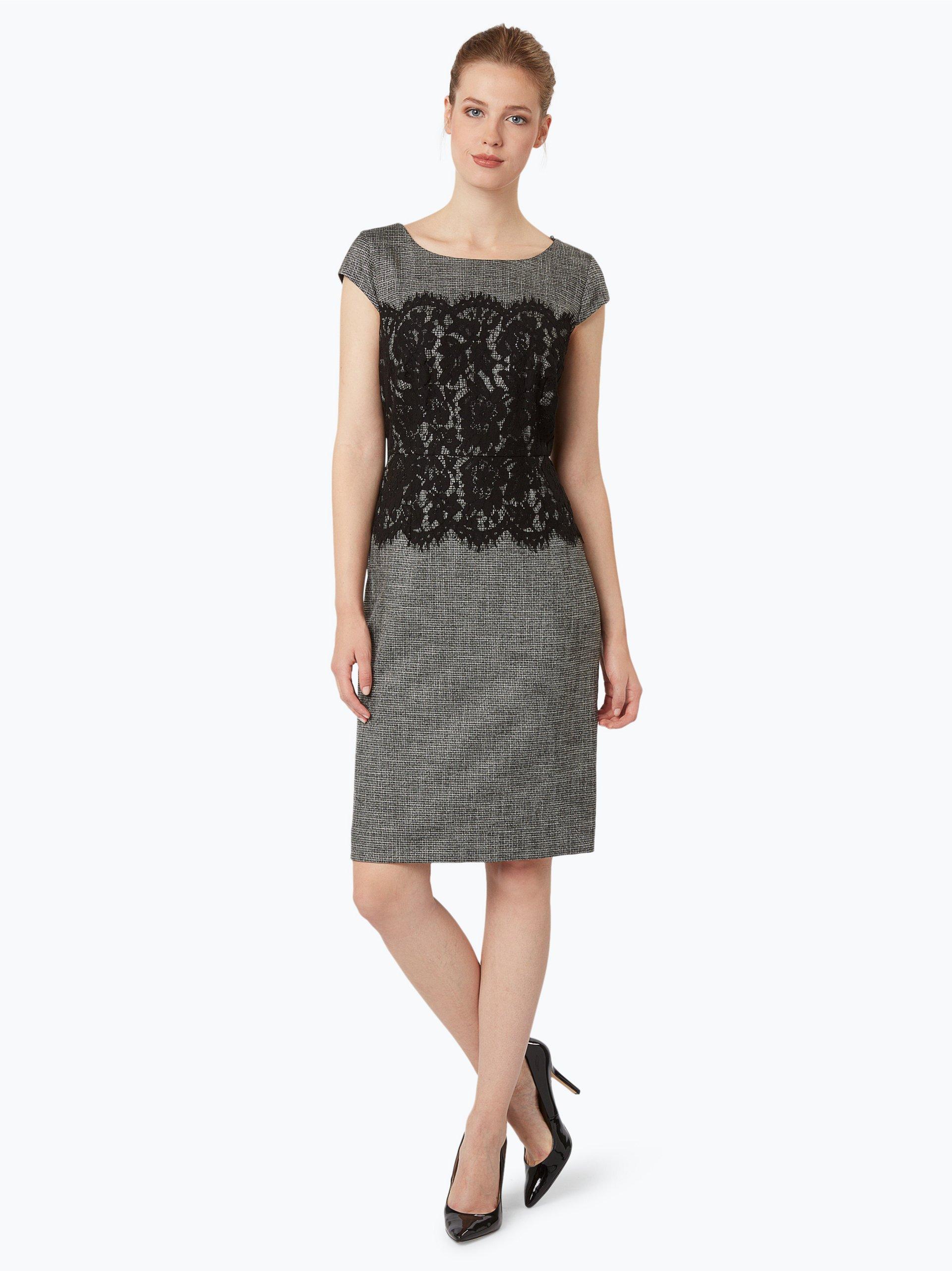 comma damen kleid schwarz gemustert online kaufen. Black Bedroom Furniture Sets. Home Design Ideas