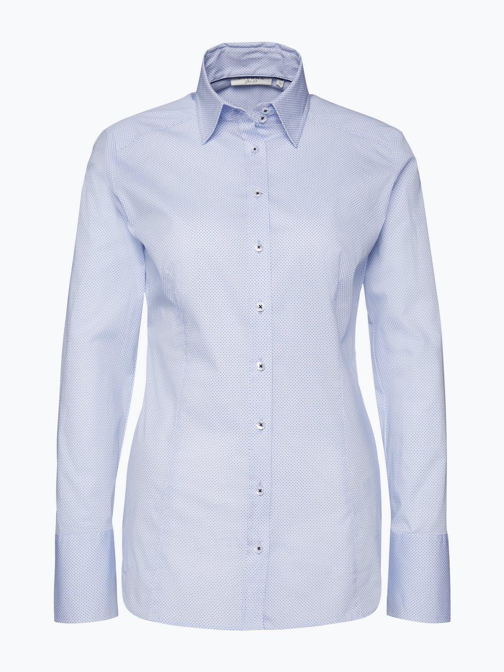 Eterna Slim Fit Damen Bluse Bügelleicht hellblau blau gemustert ... b686c96ced