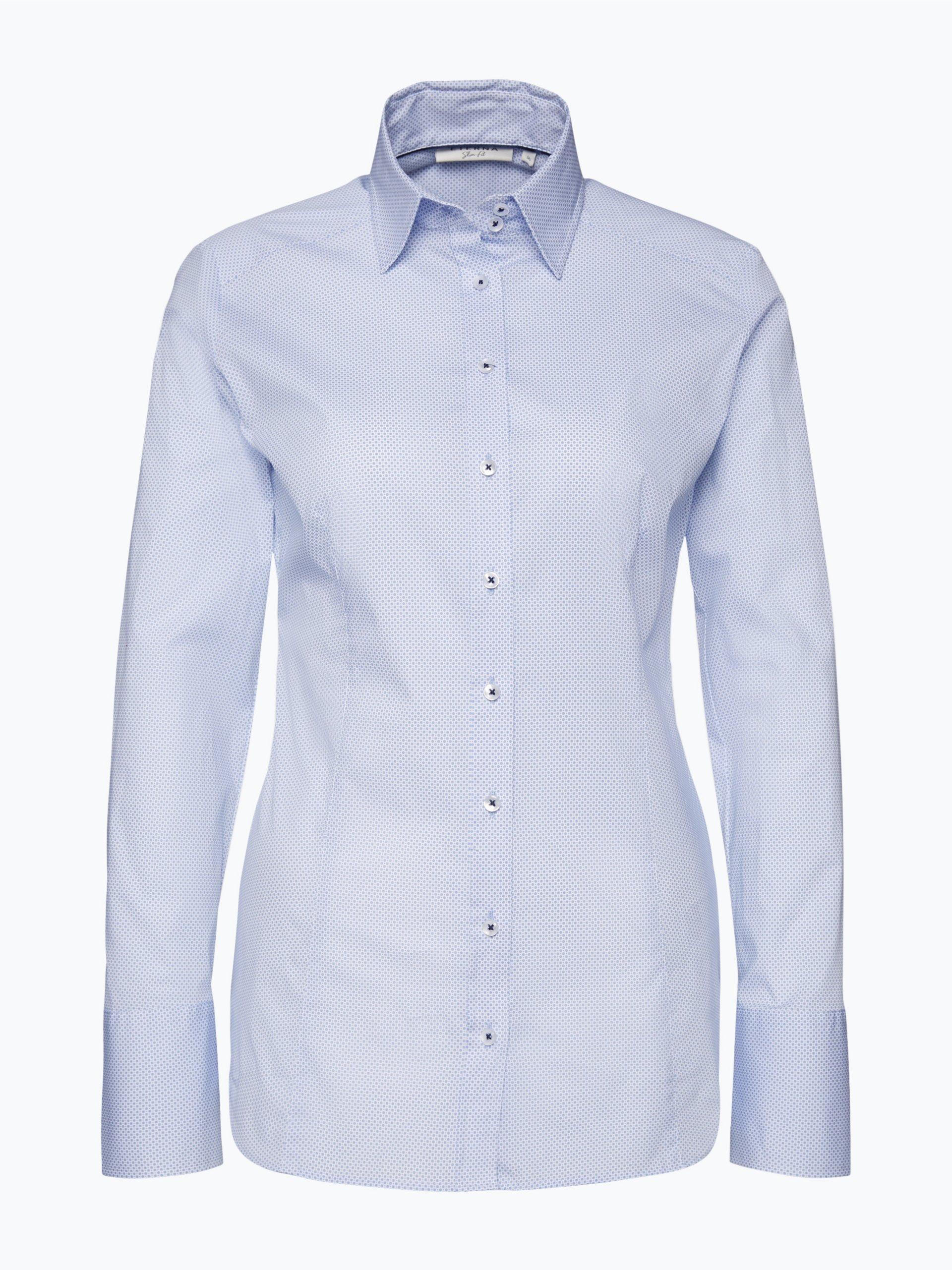 eterna slim fit damen bluse b gelleicht hellblau gemustert. Black Bedroom Furniture Sets. Home Design Ideas