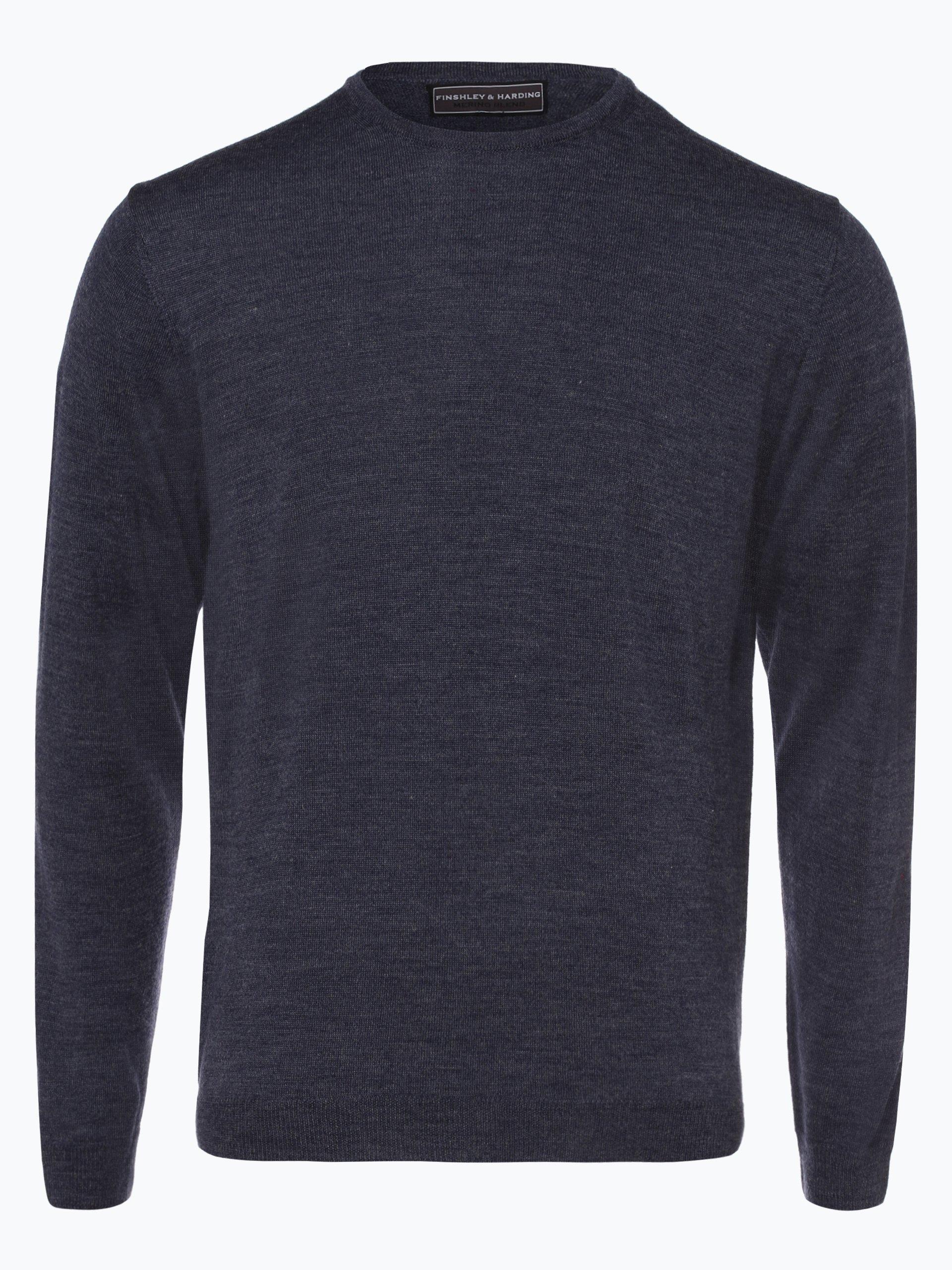finshley harding herren pullover mit merino anteil indigo uni online kaufen peek und. Black Bedroom Furniture Sets. Home Design Ideas