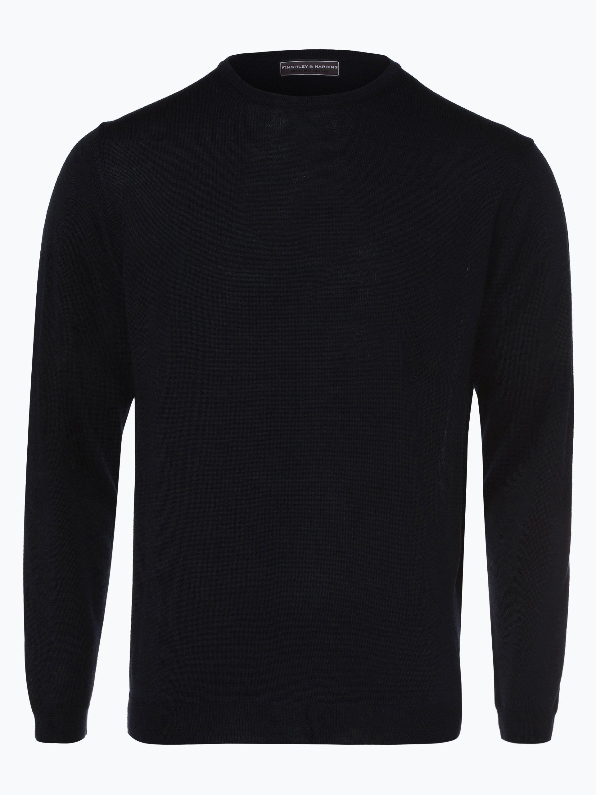 finshley harding herren pullover mit merino anteil marine uni online kaufen peek und. Black Bedroom Furniture Sets. Home Design Ideas