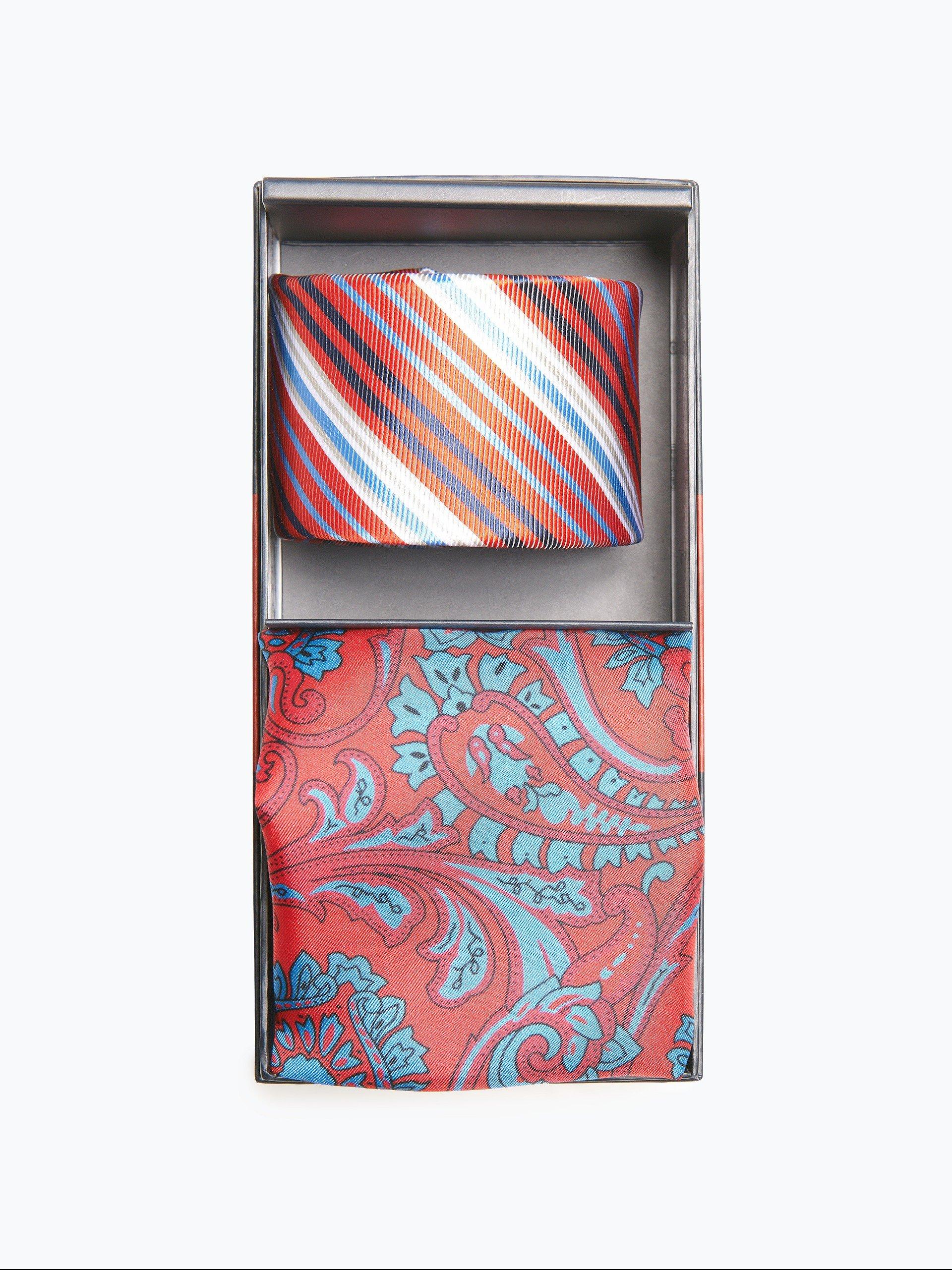 finshley harding london herren krawatte und einstecktuch aus seide rot gestreift online kaufen. Black Bedroom Furniture Sets. Home Design Ideas