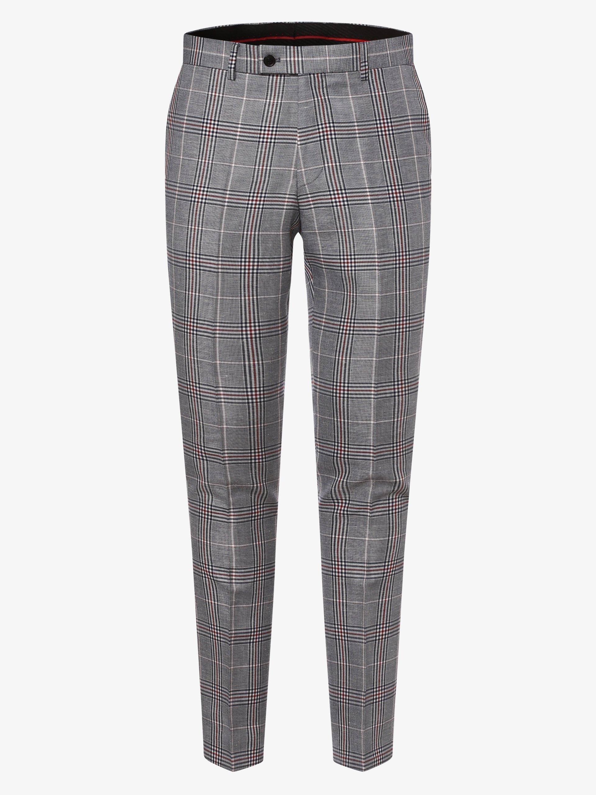 Finshley & Harding London Męskie spodnie od garnituru modułowego z dodatkiem lnu – Grant IB