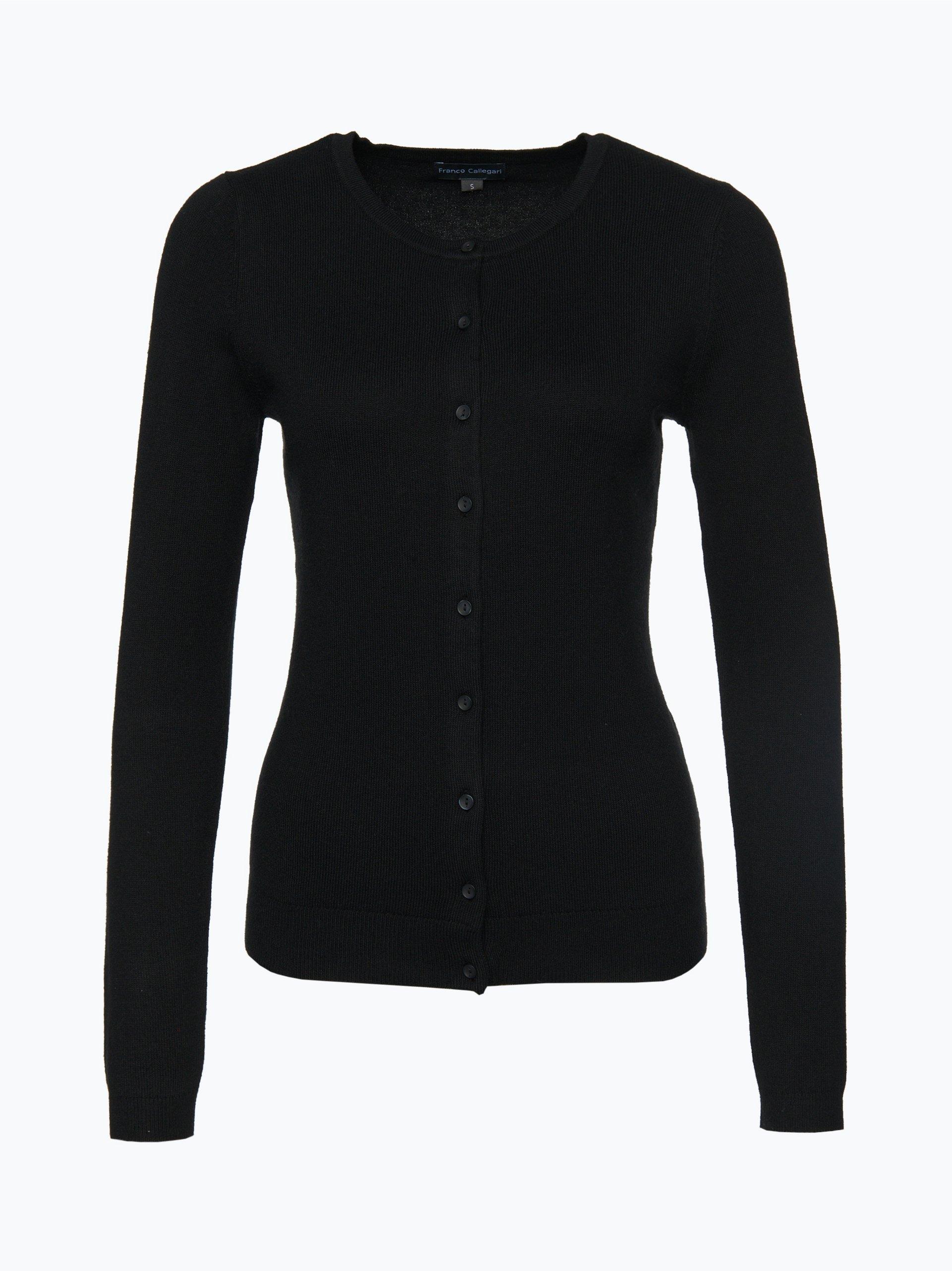 franco callegari damen strickjacke mit cashmere anteil schwarz uni online kaufen peek und. Black Bedroom Furniture Sets. Home Design Ideas
